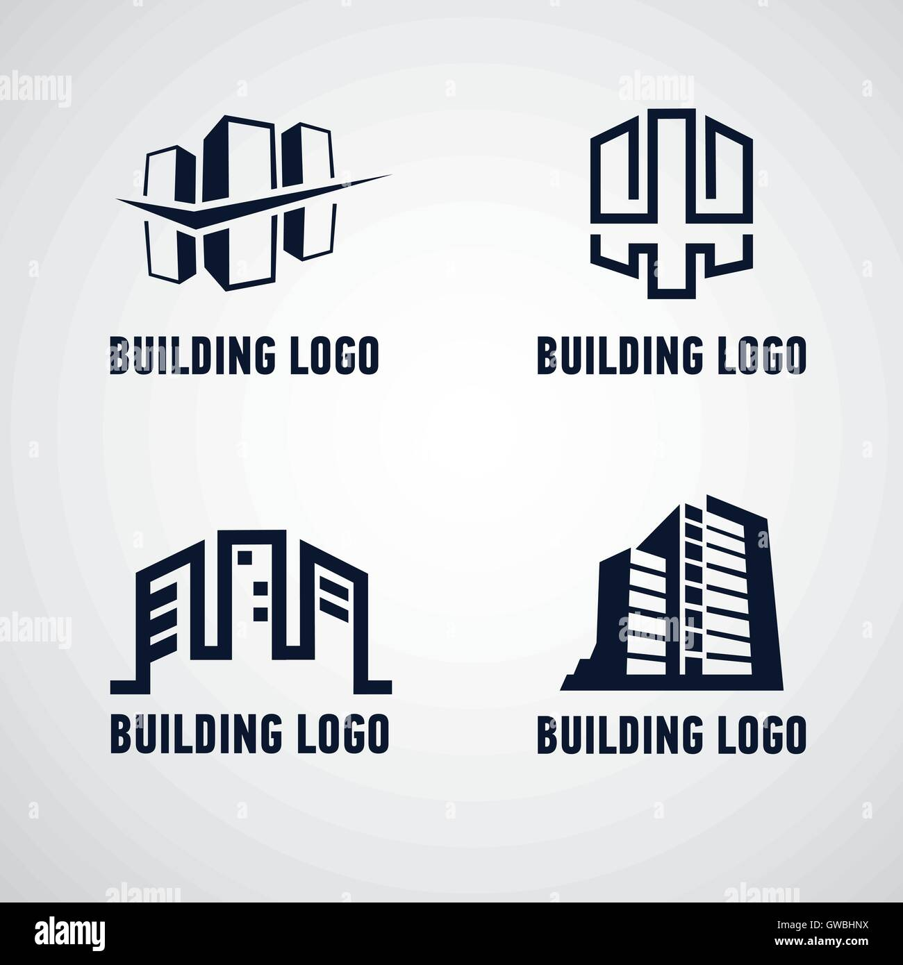Building logotypes, sign, emblems or icons. - Stock Image