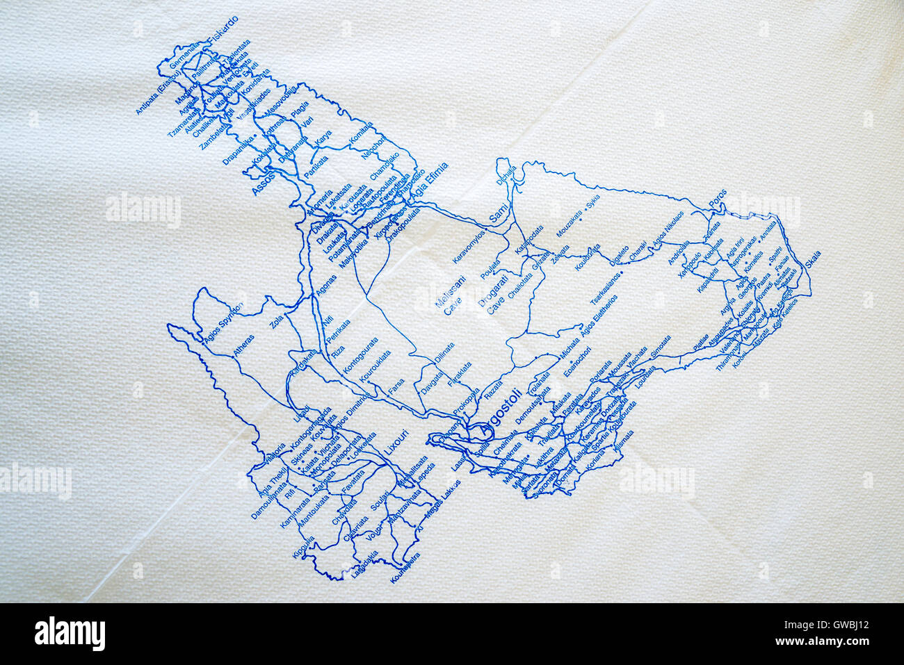 Map Of Kefalonia Printed On A Paper Table Cloth On A Table In A