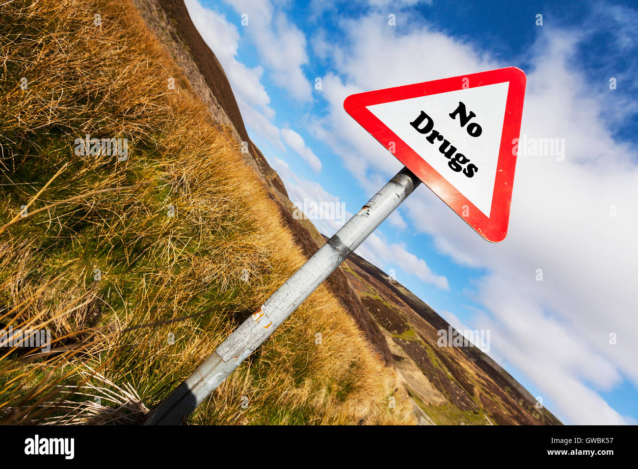 No drugs sign law warning prohibit drug taking sign health life choice warning choose drug free words antonyms antonym - Stock Image