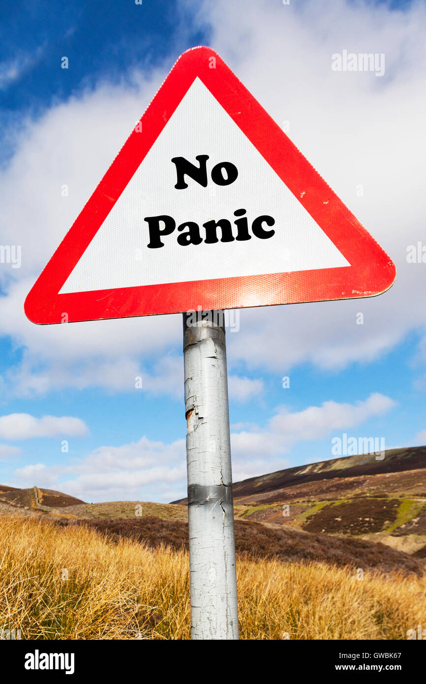 No panic calm down sign relax don't worry no problem no worries Everything alright no harm done words antonyms - Stock Image