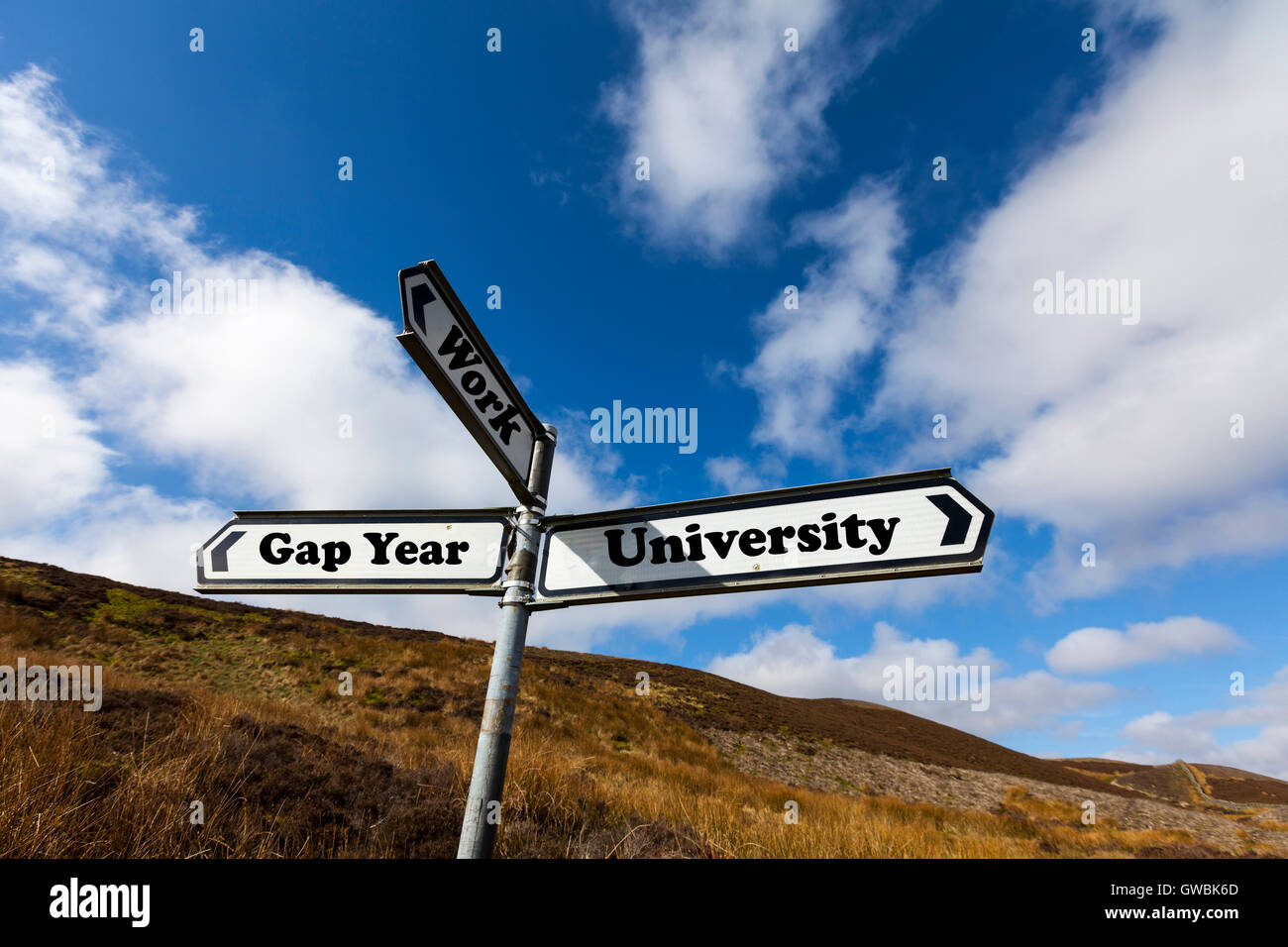 Gap year university work future choice choose life decision decide further education direction sign words antonym - Stock Image