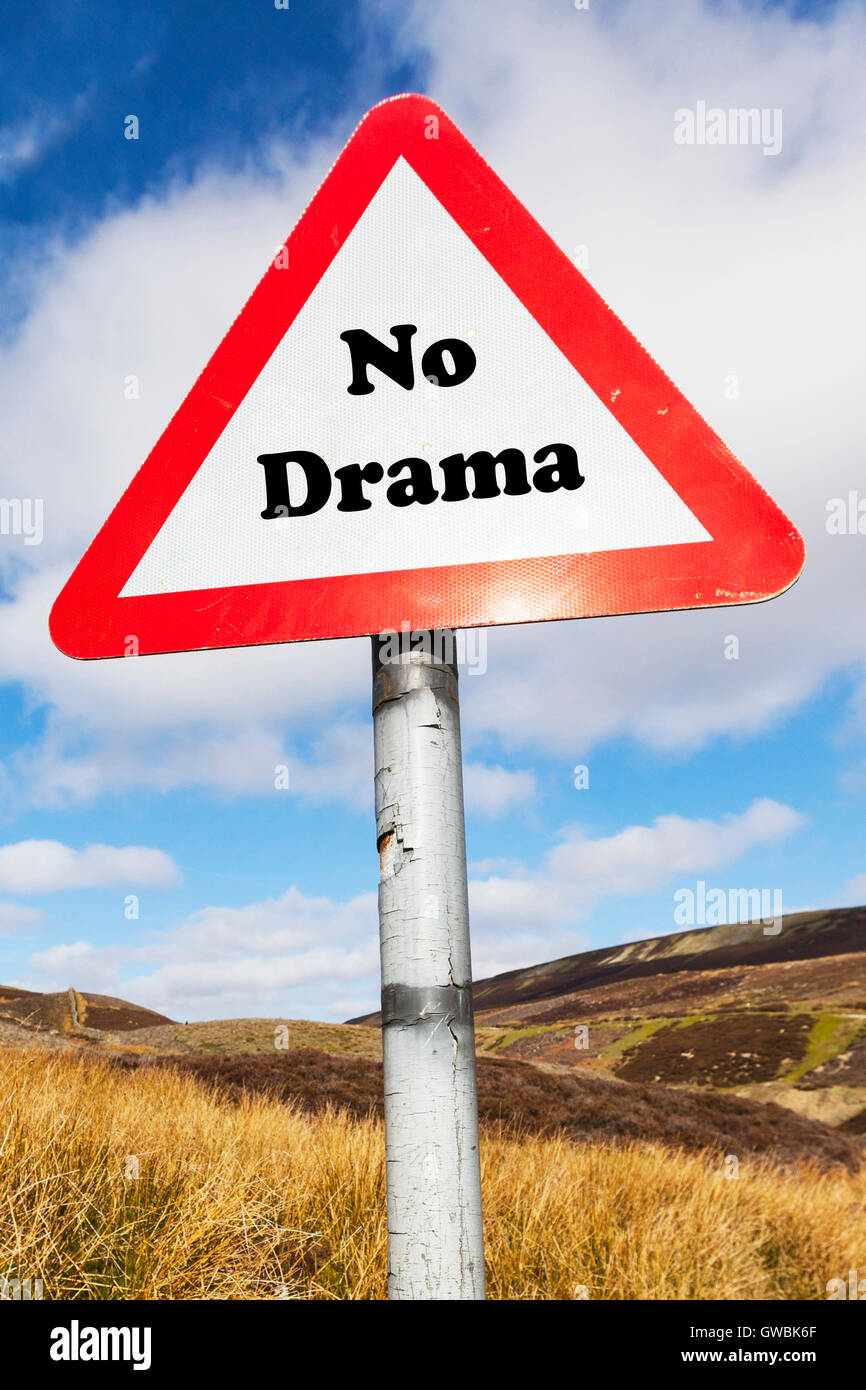 No drama Australian saying no problem no worries Everything is alright no harm done slang calm down relax sign words - Stock Image