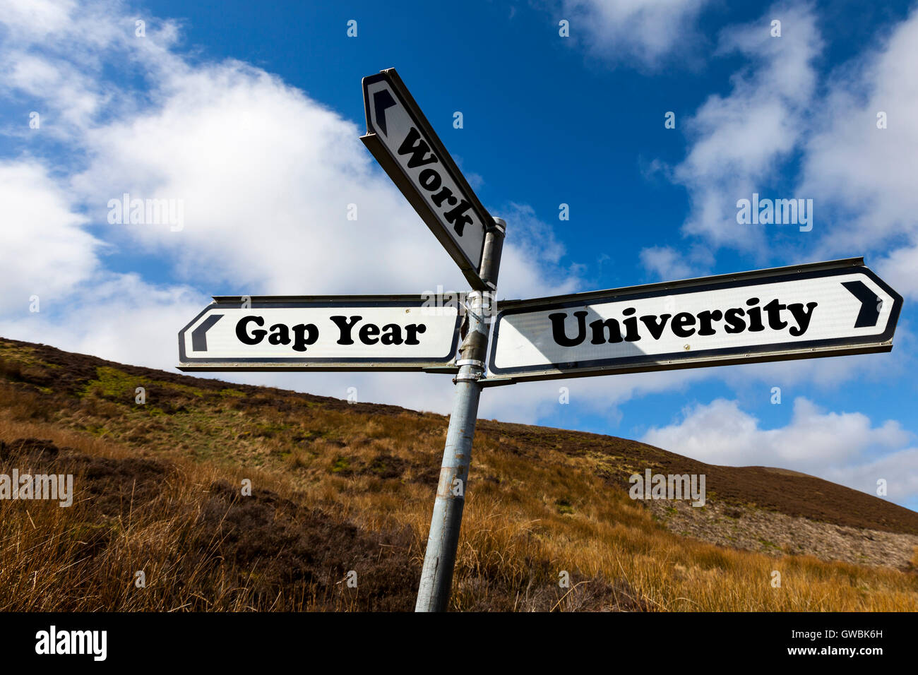 Gap year university work future choice choose life decision decide further education direction sign words antonyms - Stock Image