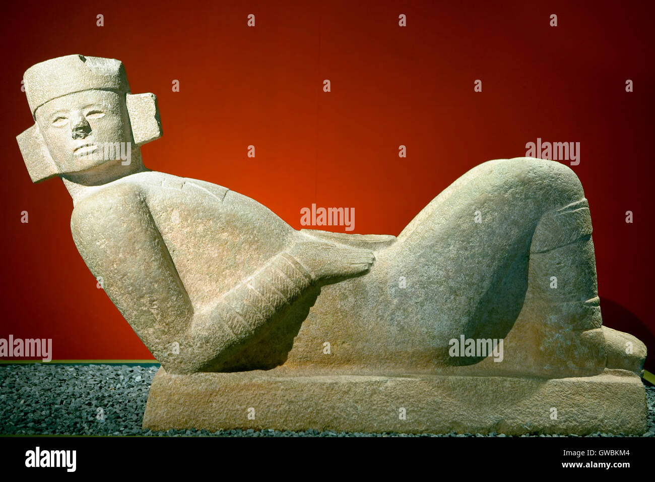 Chac Mool in  the Museum of Anthropology and History of Merida, Yucatan, Mexico - Stock Image