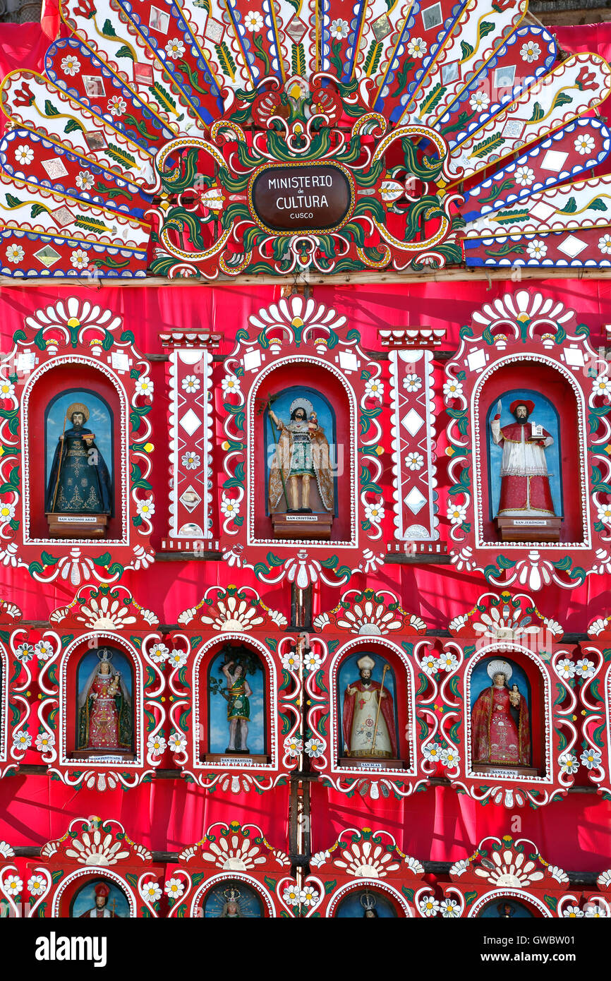 Colorful mobile altar, Corpus Christi Celebration, Cusco, Peru - Stock Image