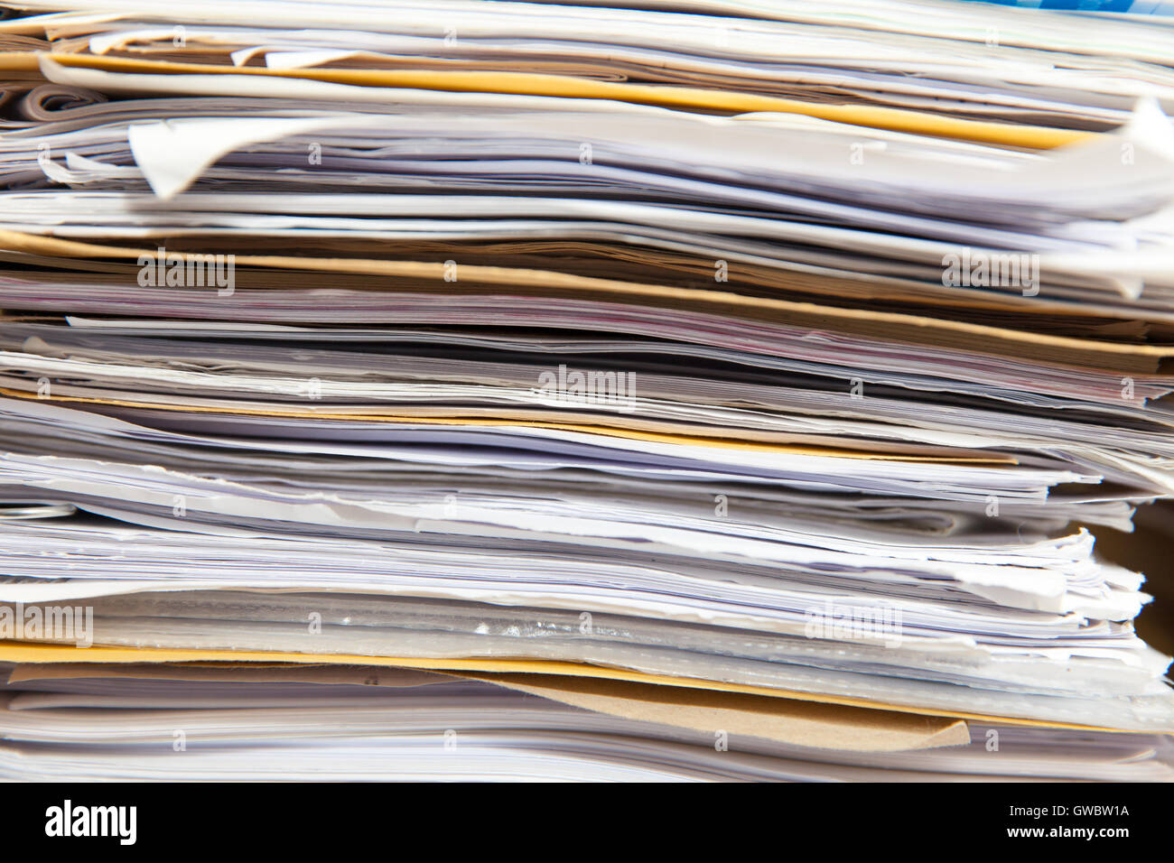 Paperwork files in a stack - Stock Image