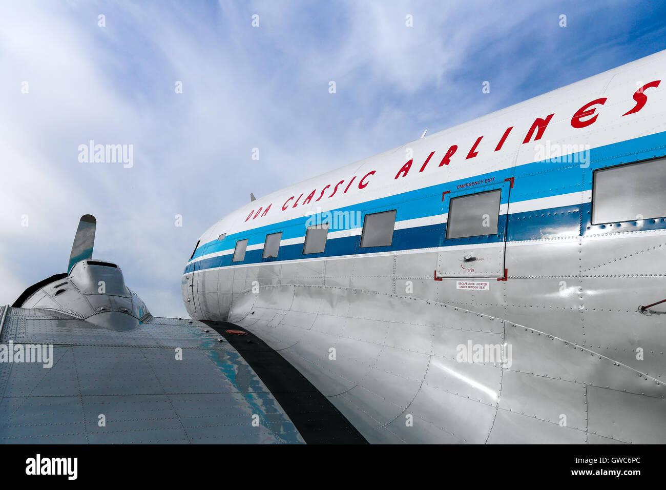 DDA Classic Flights Douglas DC-3 prepares for a pleasure flight at Amsterdam Schipol airport. Stock Photo