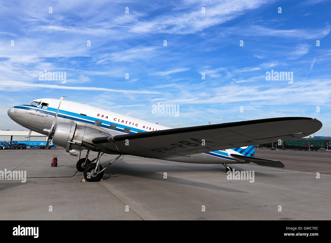 DDA Classic Flights Douglas DC-3 prepares for a pleasure flight at Amsterdam Schipol airport. Stock Photo