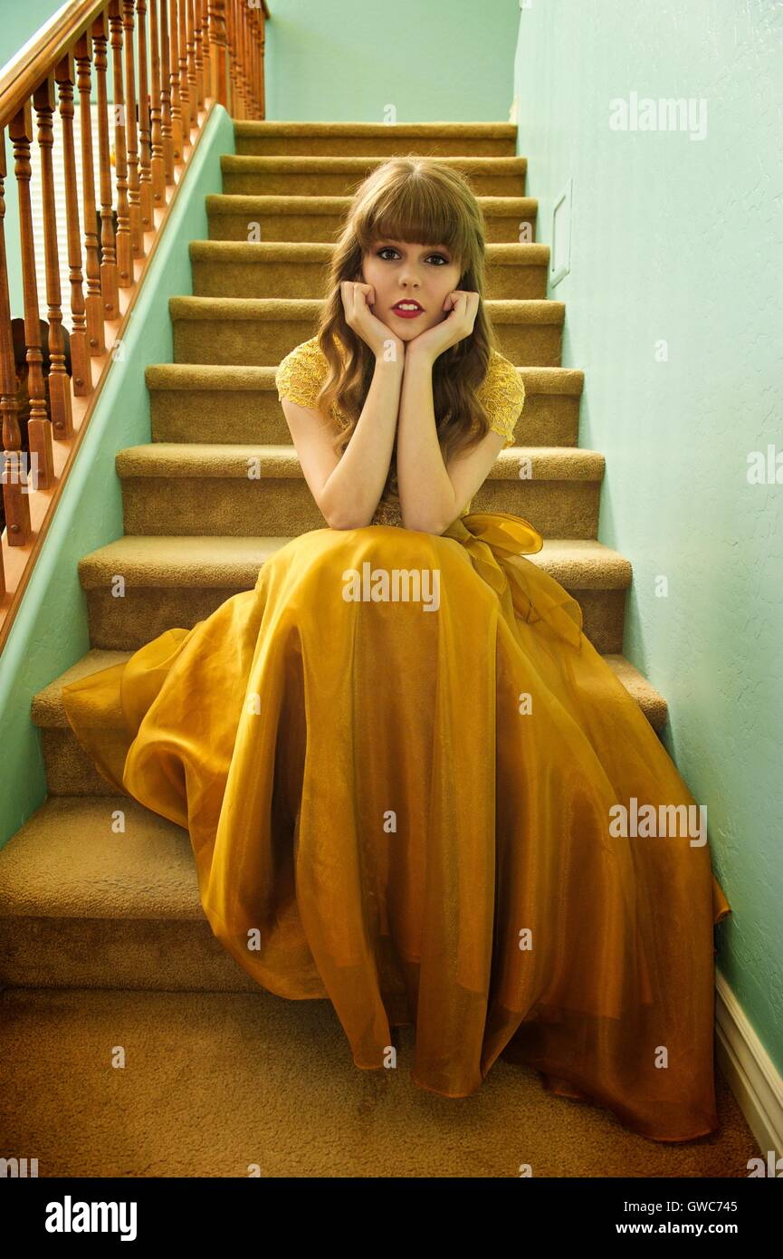 Teen Girl With Formal Prom Gown And Sneakers Stock Photo 118897637