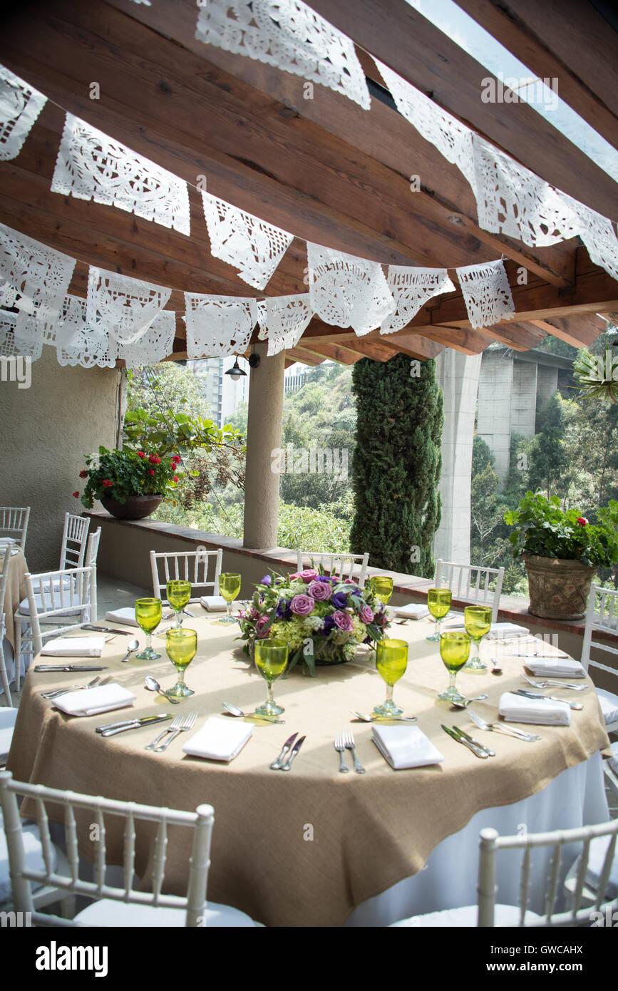 tissue paper banner wedding decoration, papel picado. Stock Photo