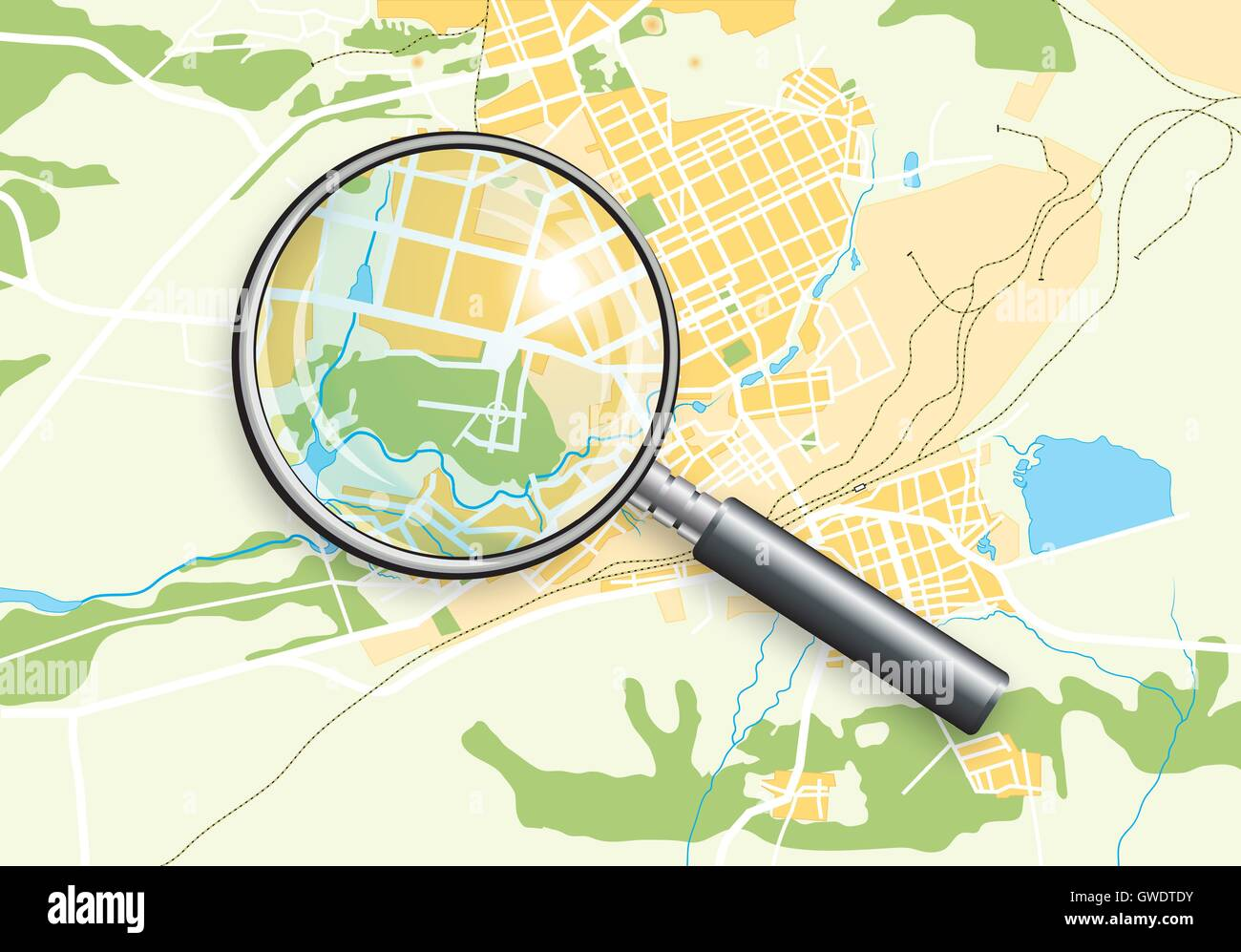 City Geo Map and Magnifying Glass Lens II - Stock Vector