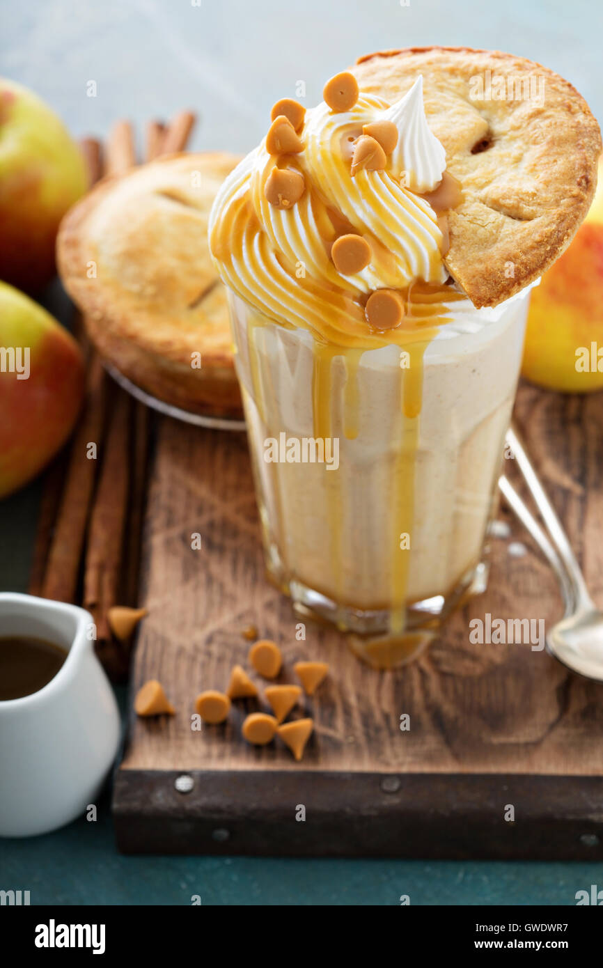 Apple pie milkshake with syrup - Stock Image