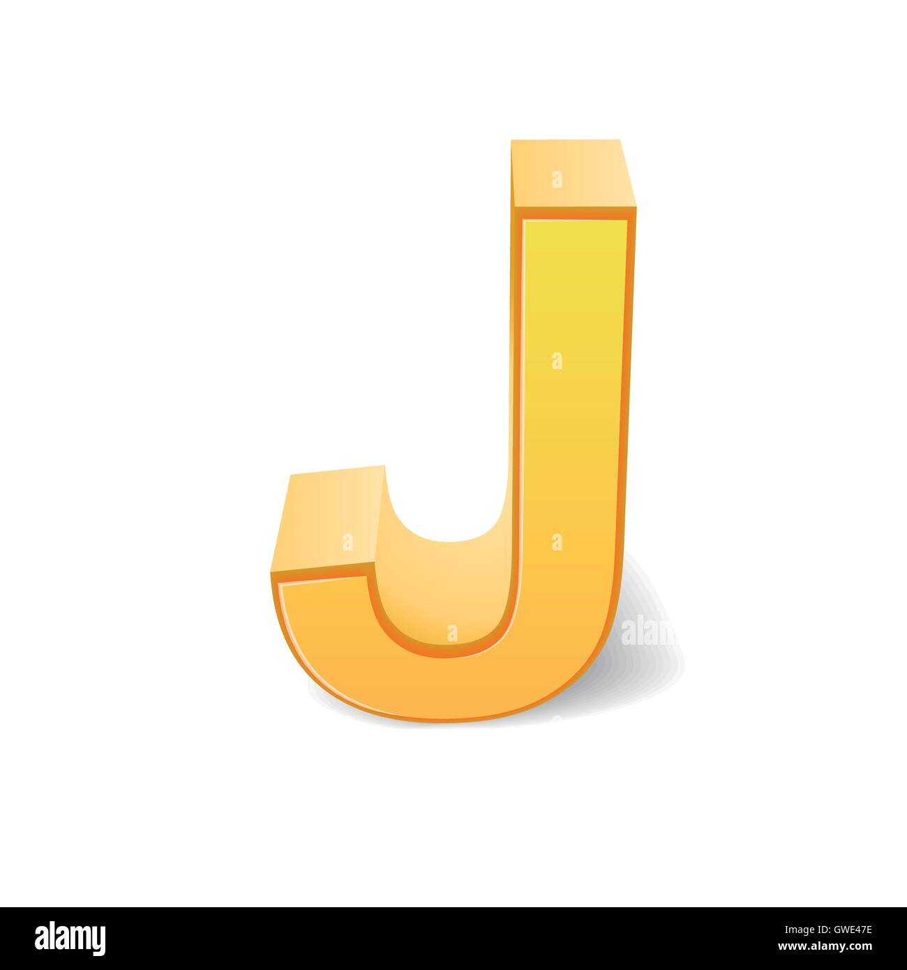 3d Image Yellow Letter J Isolated On White Background Stock Vector