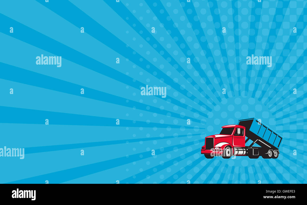 Business card showing illustration of a roll off truck with business card showing illustration of a roll off truck with container bin on back viewed from side set on isolated white background done in retro style colourmoves