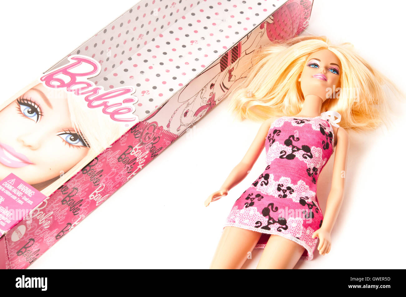 Barbie with box - Stock Image