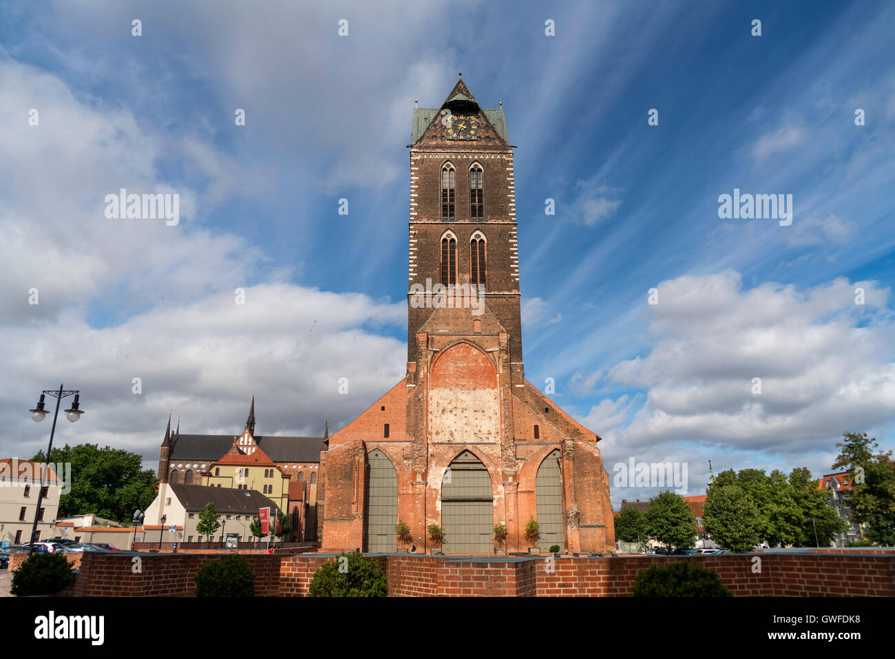 St. Mary's Church tower, Hanseatic City of Wismar, Mecklenburg-Vorpommern, Germany - Stock Image