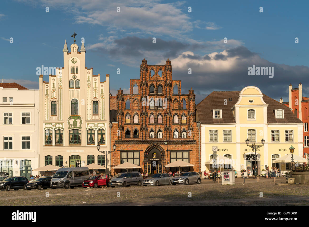 Market Square with patrician's home the Alter Schwede, Hanseatic City of Wismar, Mecklenburg-Vorpommern, Germany - Stock Image