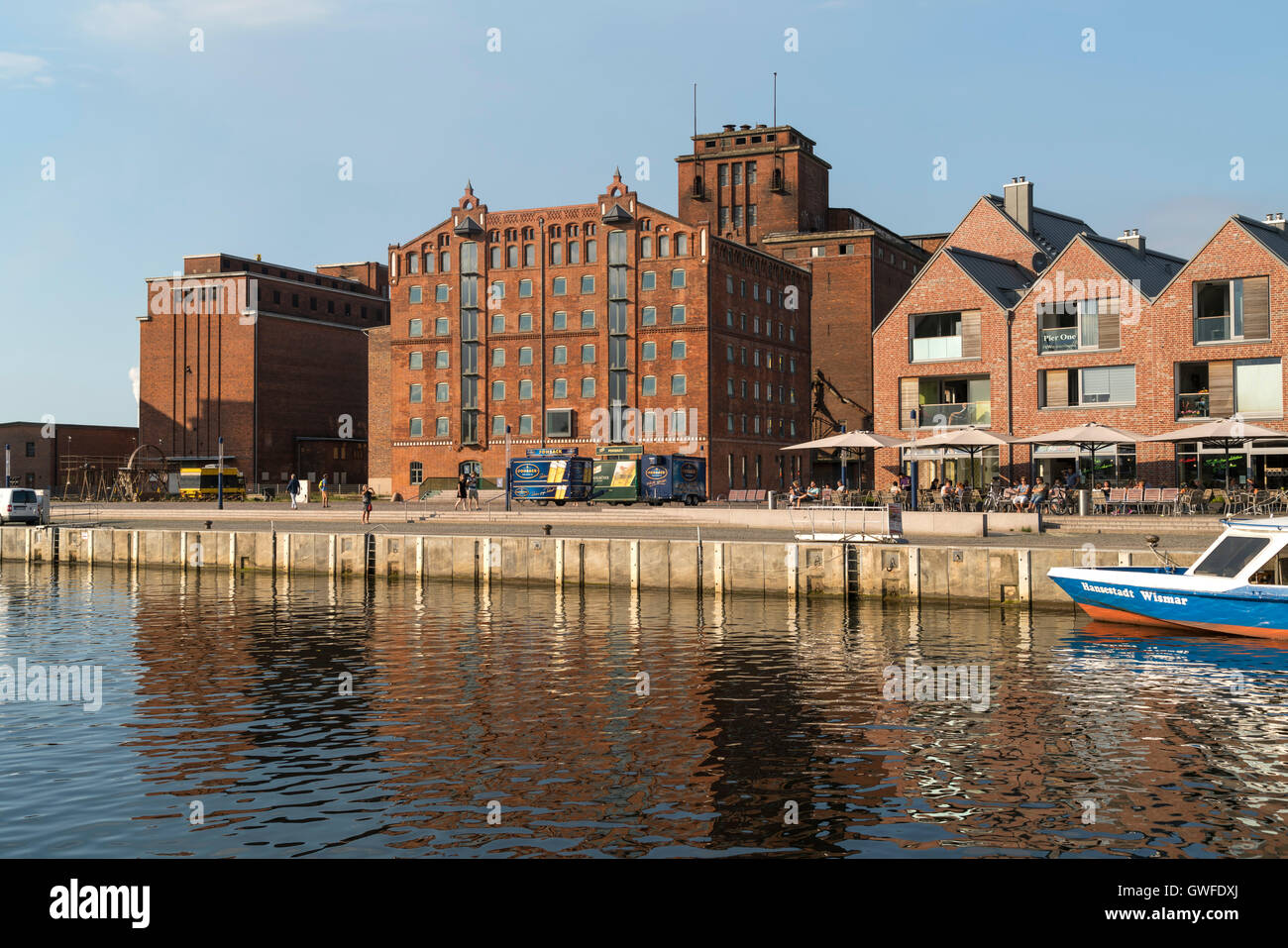 historic Old Harbour and former warehouses, Hanseatic City of Wismar, Mecklenburg-Vorpommern, Germany - Stock Image