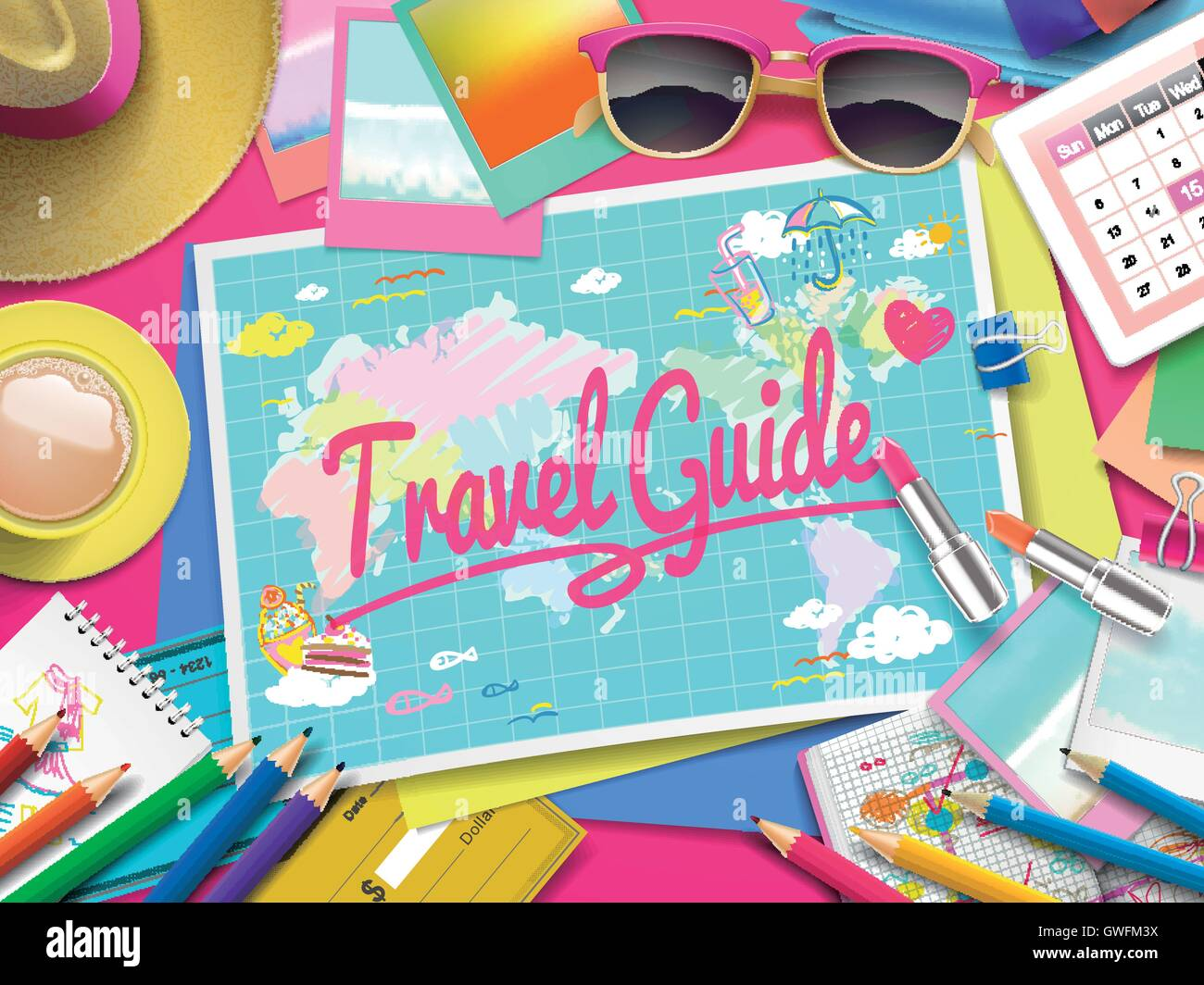 Travel Guide on map, top view of colorful travel essentials on table - Stock Vector