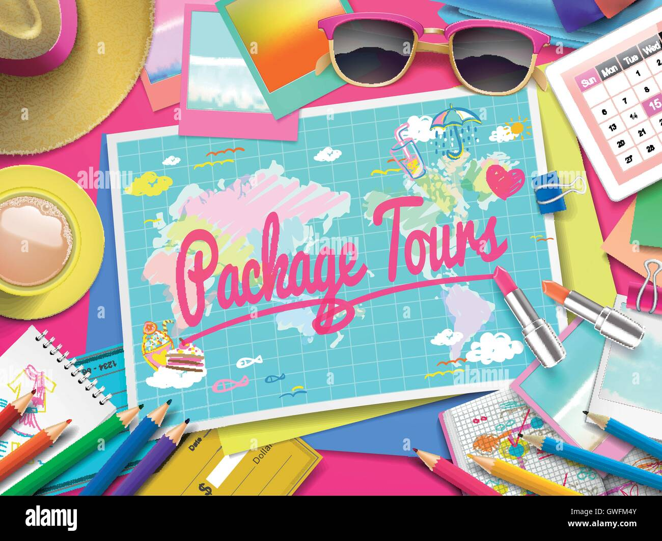 Package Tours on map, top view of colorful travel essentials on table - Stock Vector
