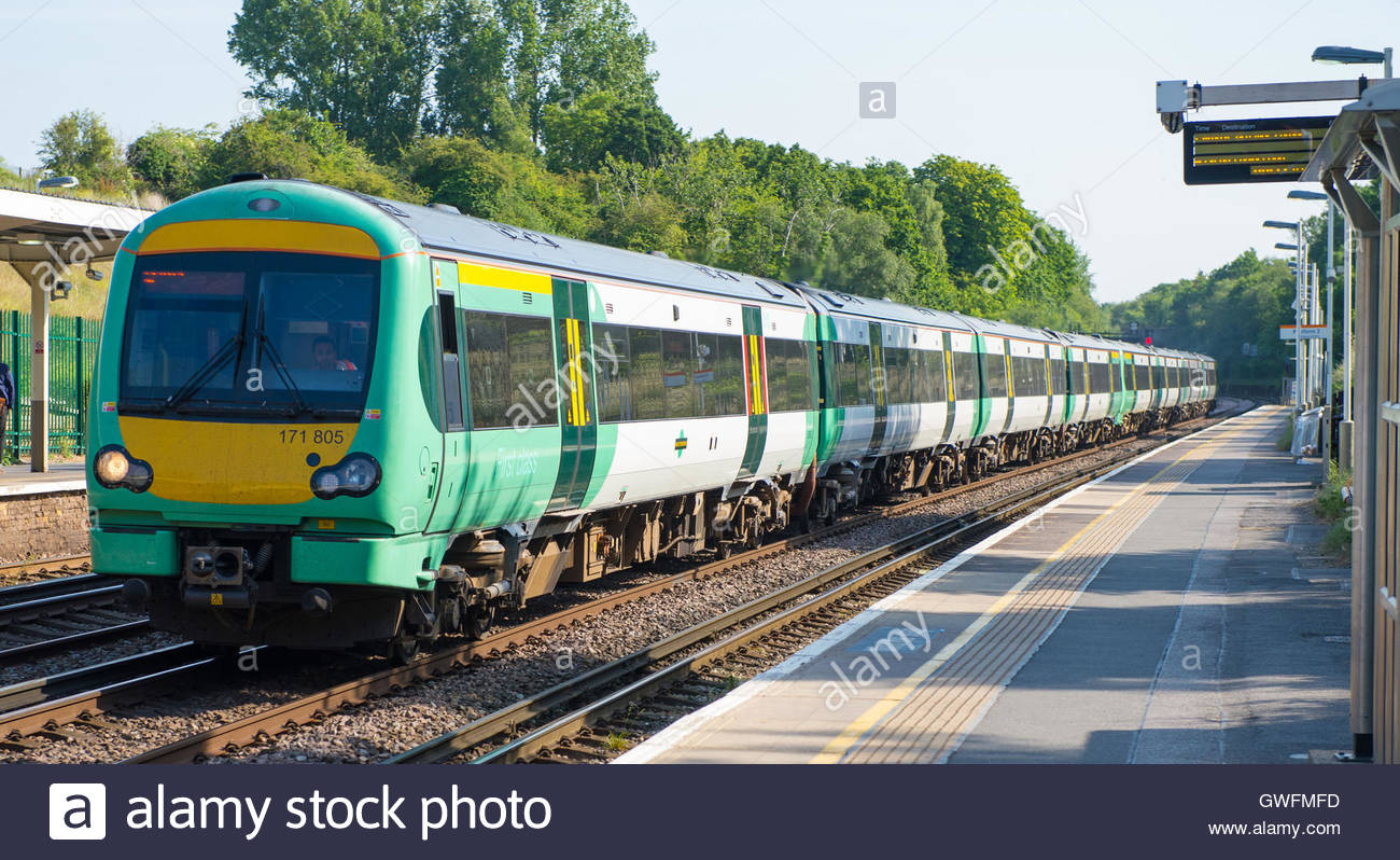 File photo dated 11/06/15 of a Southern Rail train, as the operator is to restore more train services next week - Stock Image