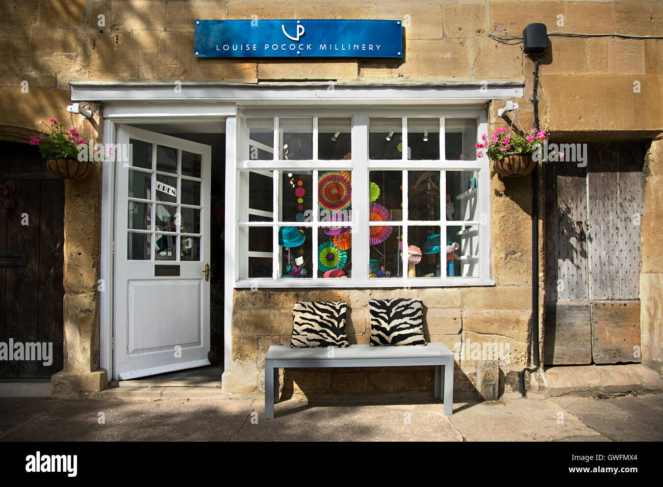 3f84627d72605 Louise Pocock bespoke millinery Cotswold Hat Shop Chipping Campden - Stock  Image