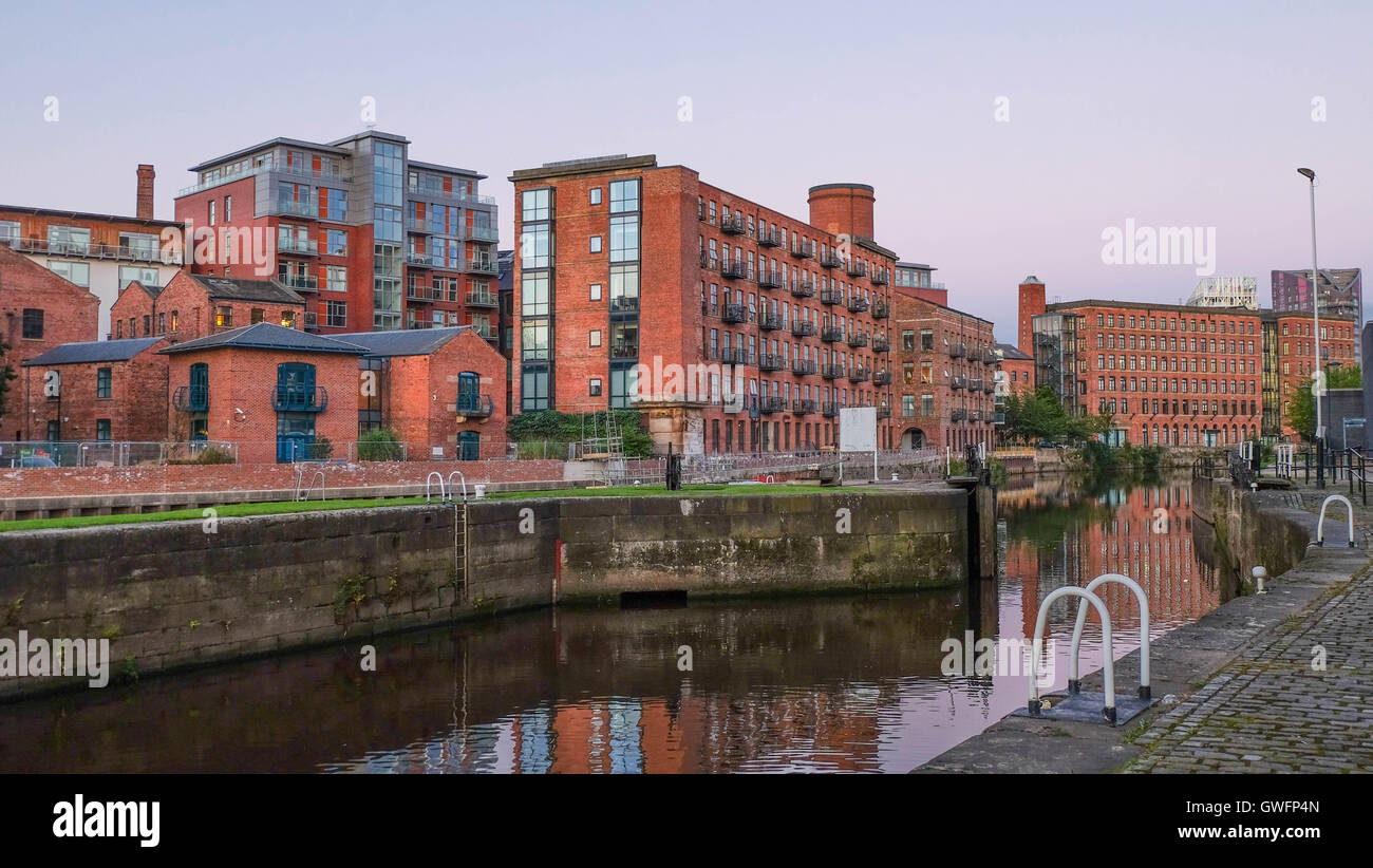 Residential block at Clarence Dock at dusk, Leeds - Stock Image