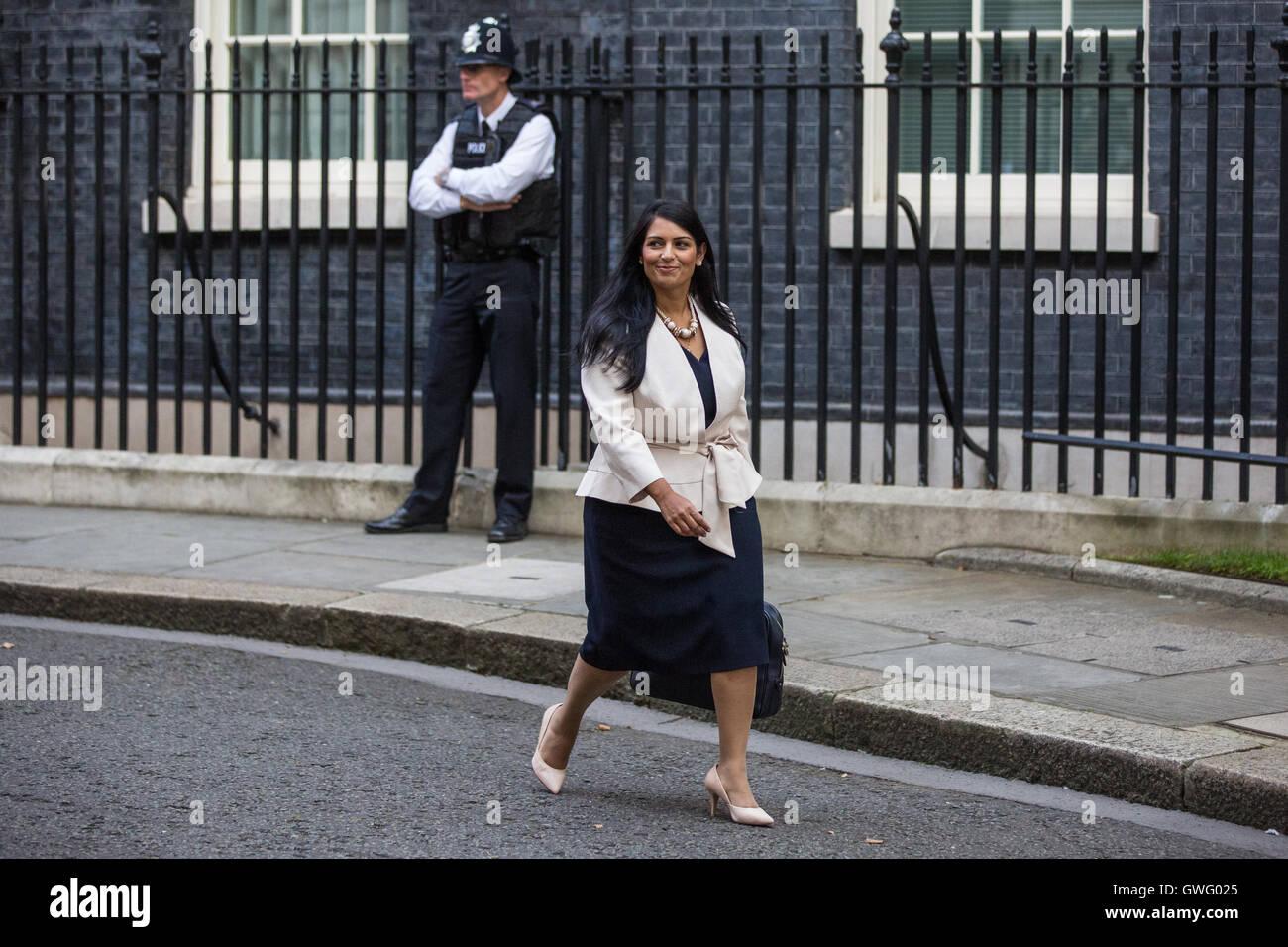 London, UK. 13th September, 2016. Priti Patel MP, Secretary of State for International Development, leaves Downing Street following a Cabinet meeting. Credit:  Mark Kerrison/Alamy Live News