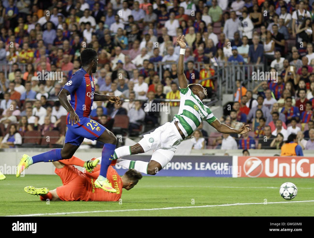 Nou Camp, Barcelona, Spain. 13th Sep, 2016. UEFA Champions League Football. Barcelona versus Celtic. Moussa Dembele - Stock Image