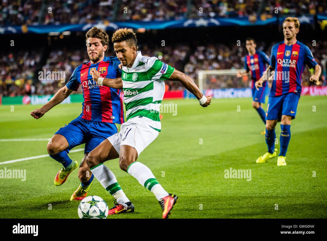 Barcelona, Catalonia, Spain. 13th Sep, 2016. FC Barcelona midfielder S. ROBERTO in action against Celtic midfielder - Stock Image