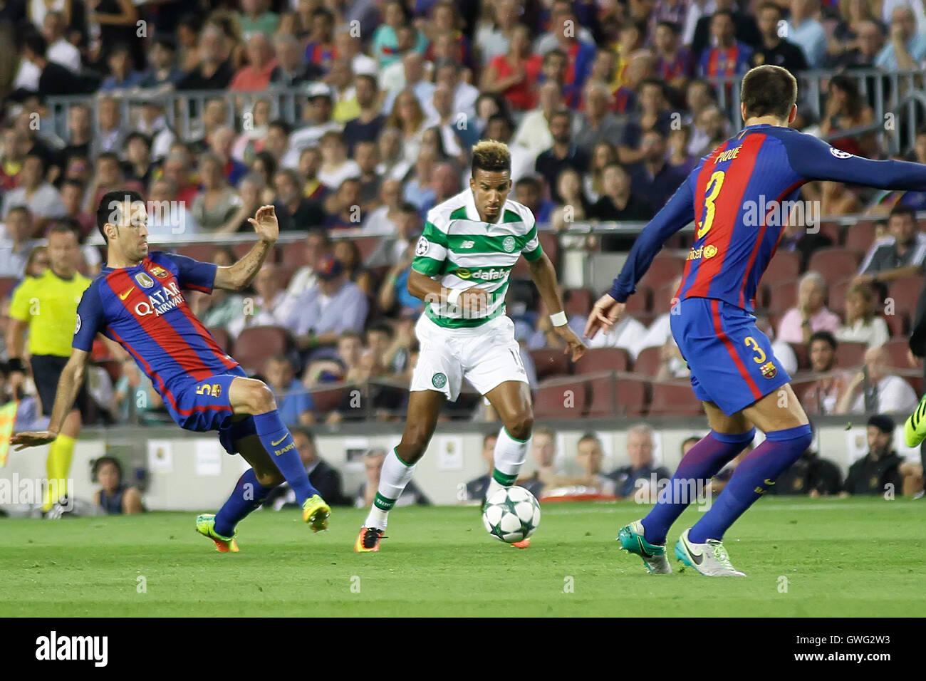 Nou Camp, Barcelona, Spain. 13th Sep, 2016. UEFA Champions League Football. Barcelona versus Celtic. Dembele challenged - Stock Image