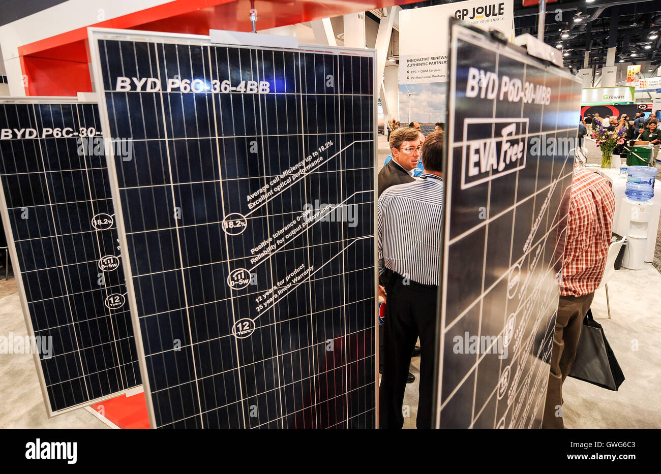 (160914) -- LAS VEGAS, Sept. 14, 2016 (Xinhua) -- Chinese carmaker BYD exhibits its latest solar products at the - Stock Image