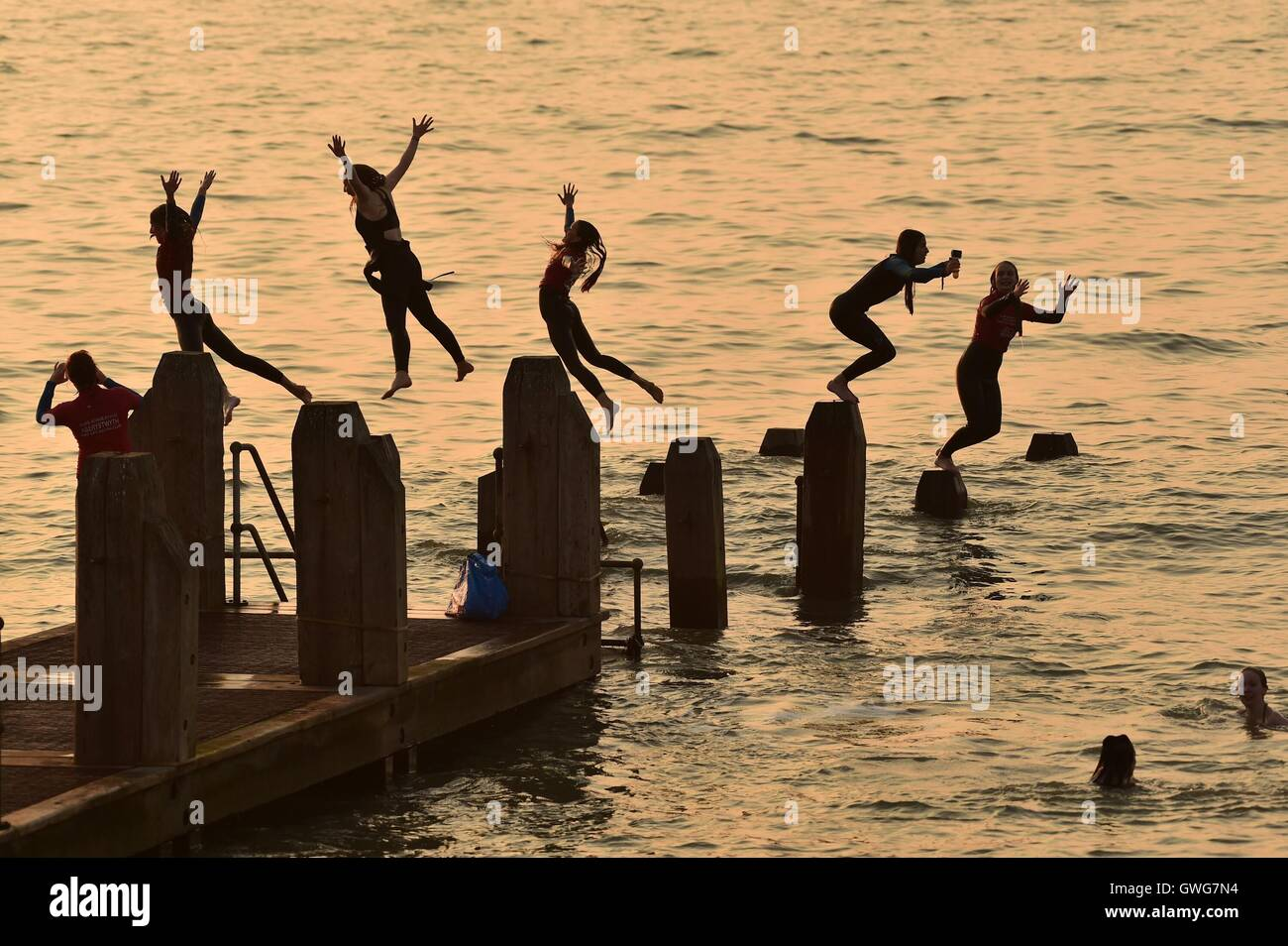 Aberystwyth Wales UK, Wednesday 14 September 2016  UK weather: People enjoying themselves in the hot sunshine in Stock Photo