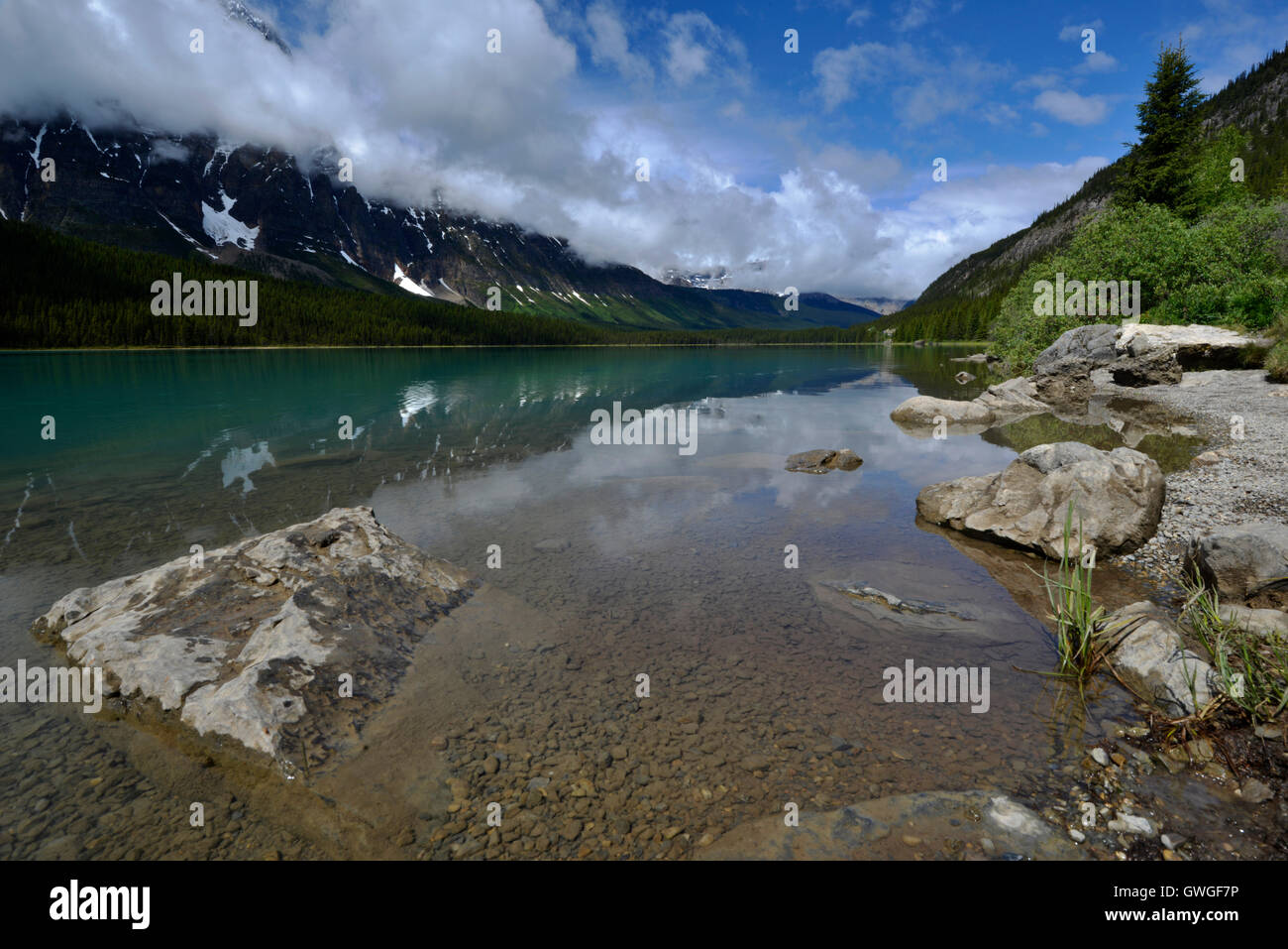 Waterfowl Lake and Mount Chephren, Banff National Park, Canada - Stock Image