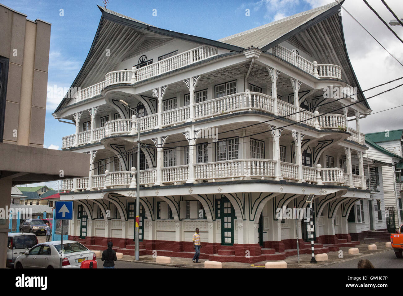 Renovated wooden building in downtown Paramaribo - Stock Image