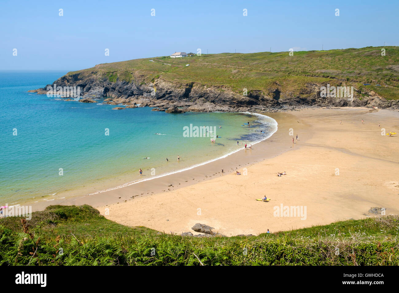 The beach at Poldhu Cove, Mullion, Cornwall, on the Lizard Peninsula, England, UK beaches in summer - Stock Image