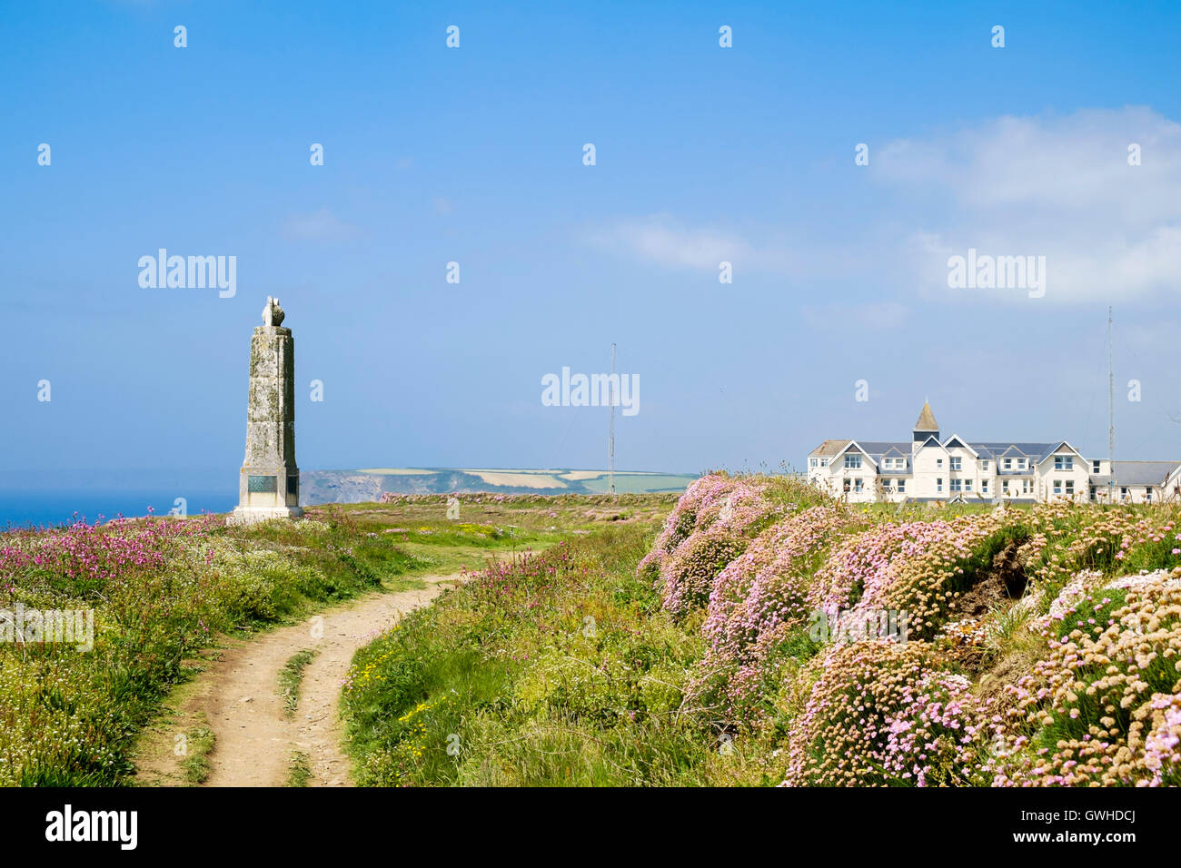 Marconi radio monument to Guglielmo Marconi in Poldhu, Cornwall, England UK, site of first transatlantic radio transmission - Stock Image