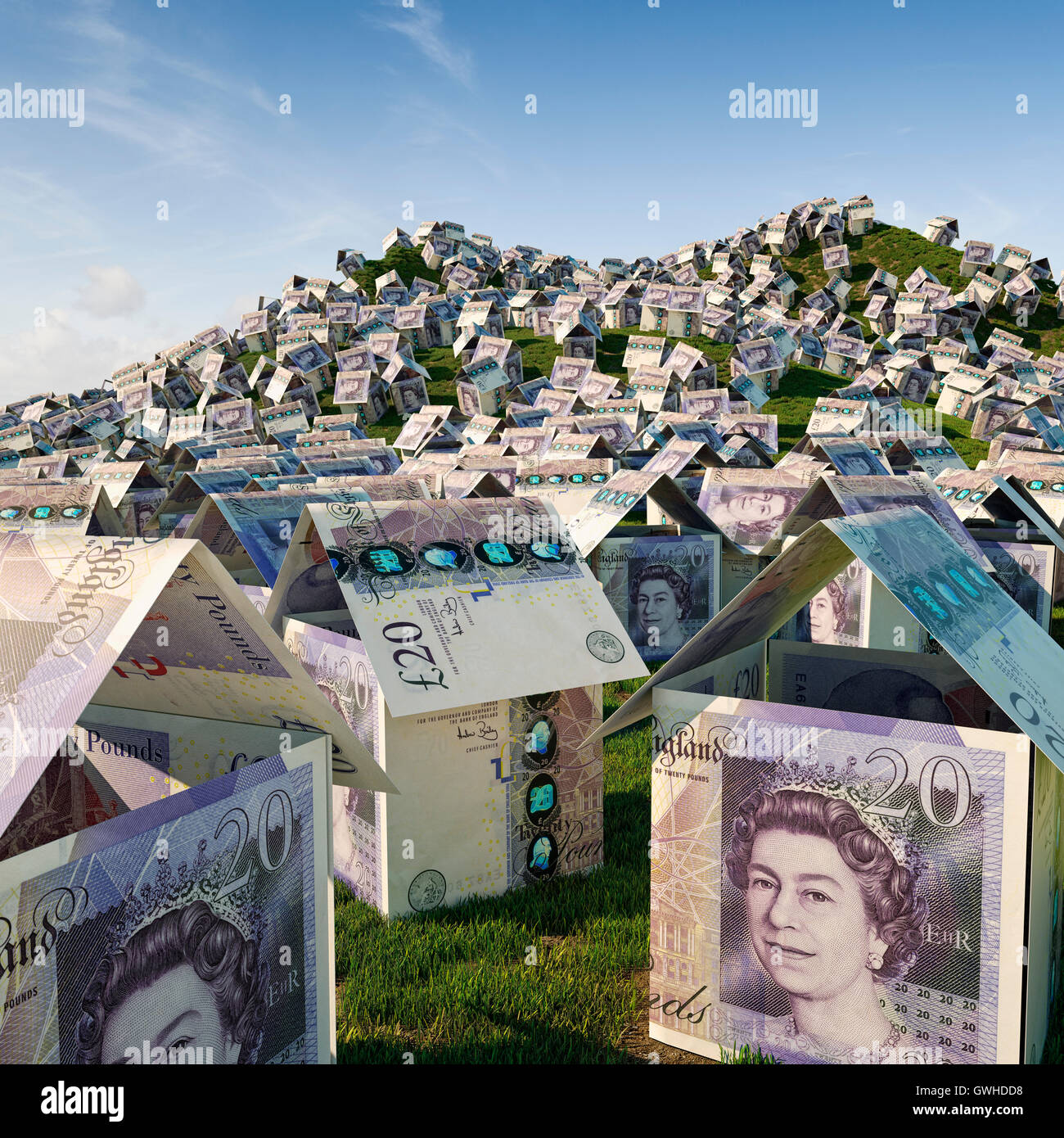 UK housing crisis - House building concept, house prices and housing estate development concept - Stock Image