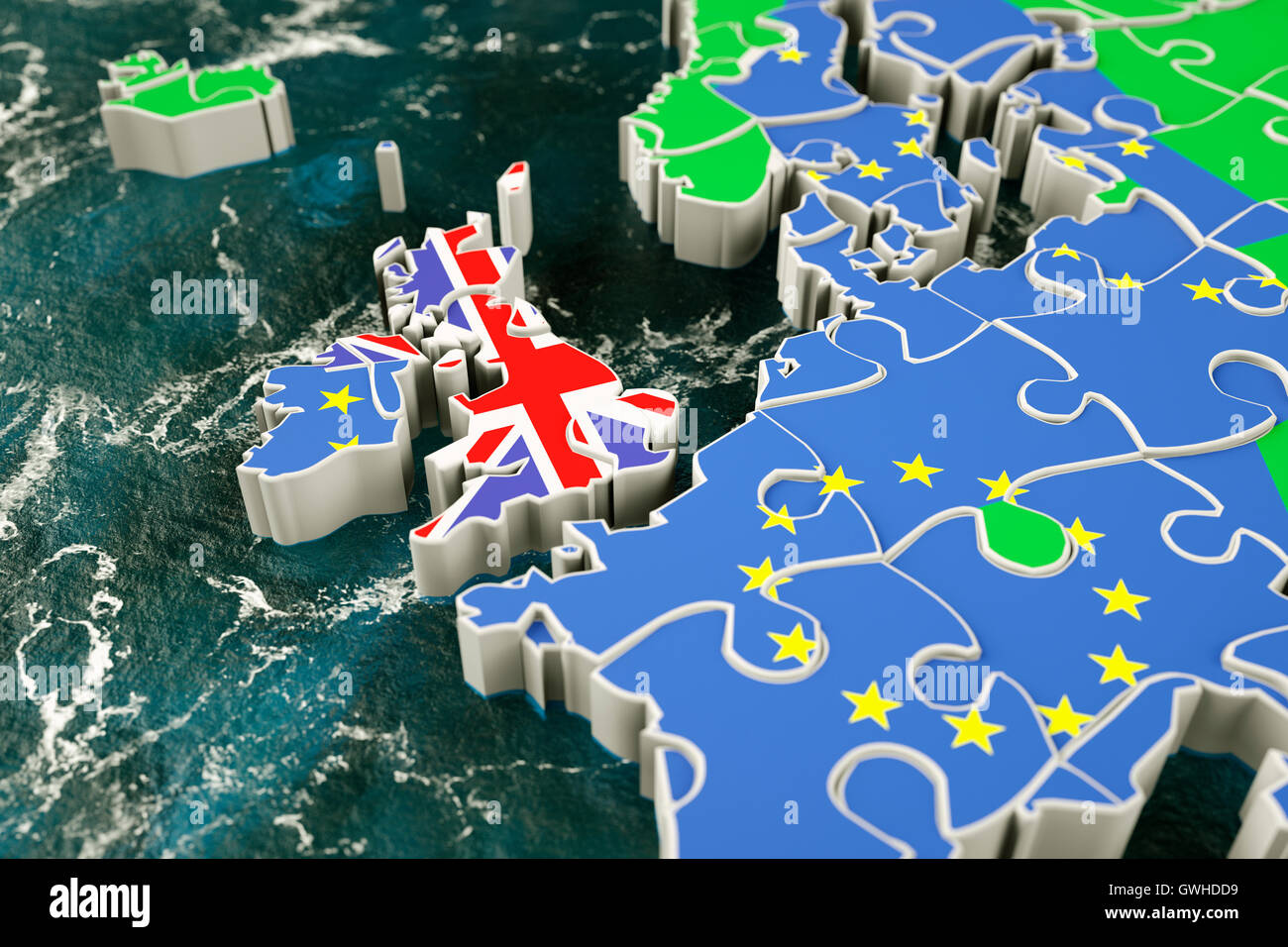 Brexit concept puzzle - representing Brexit, UK exit, trade deal, EU single market, customs union etc. - Stock Image