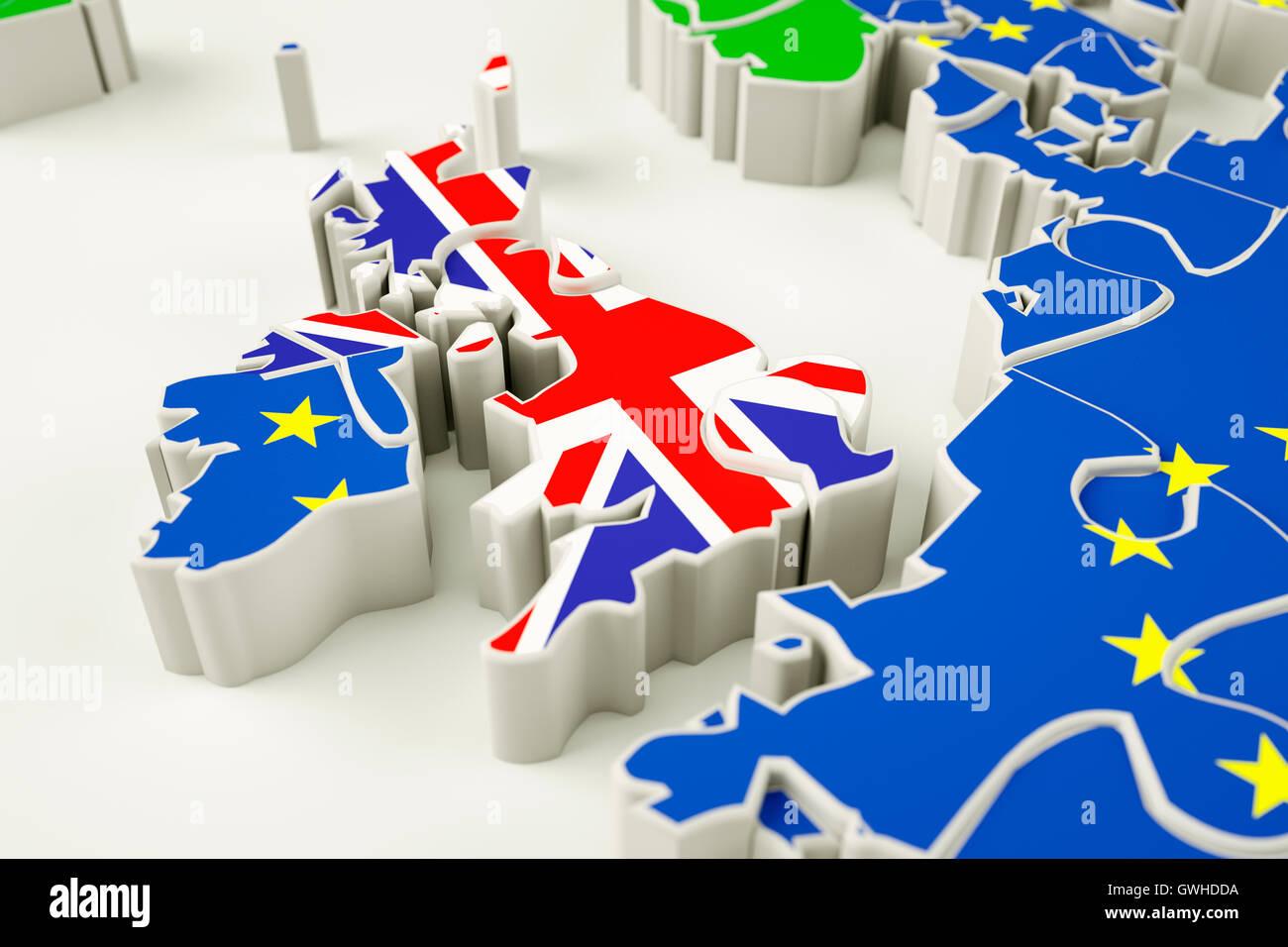 Brexit concept puzzle - representing Brexit, EU referendum, UK exit, single market etc. - Stock Image