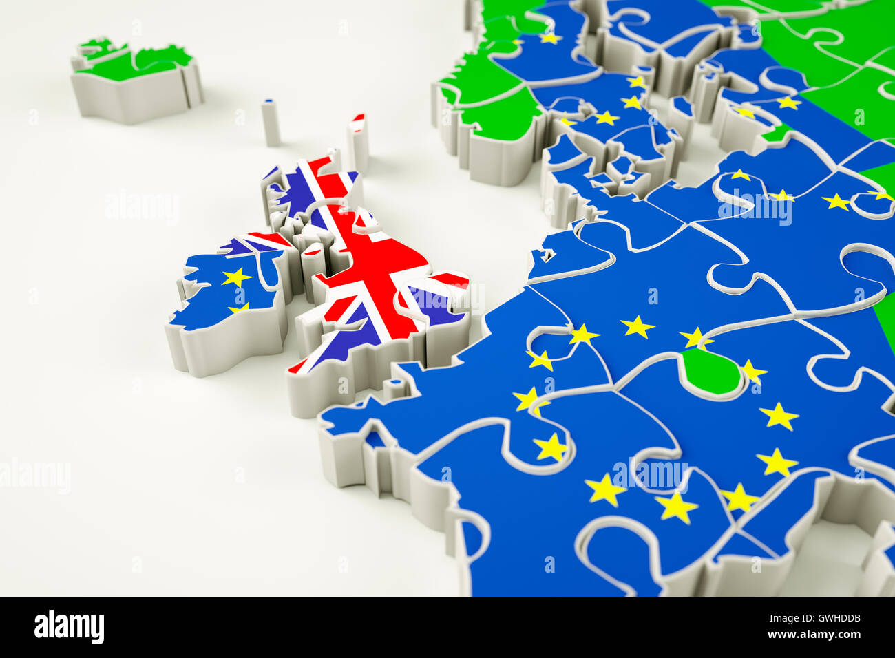 Brexit concept puzzle - representing Brexit, the UK exit, the EU referendum, trade deal etc. - Stock Image