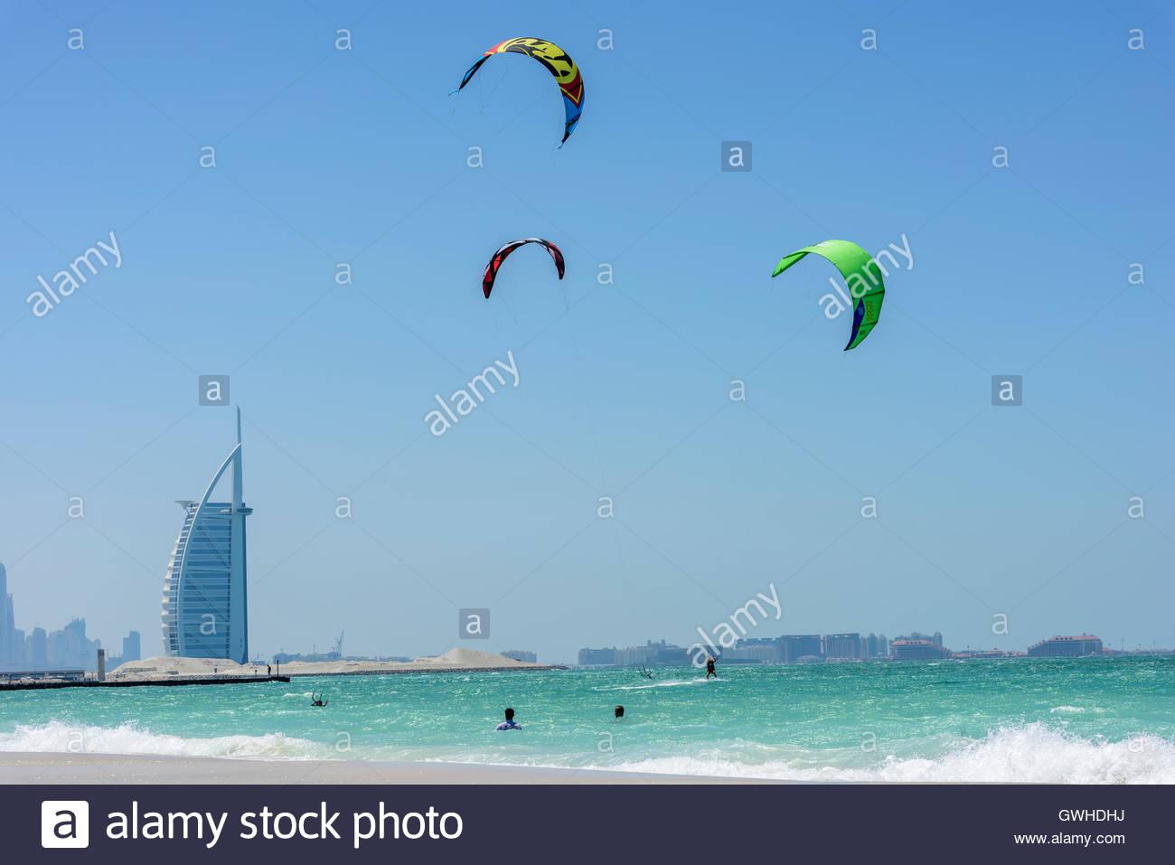 Kite Surf in Dubai with the famous Burj Al Arab hotel in background. No model/property releases. Dubai Emirates, Stock Photo
