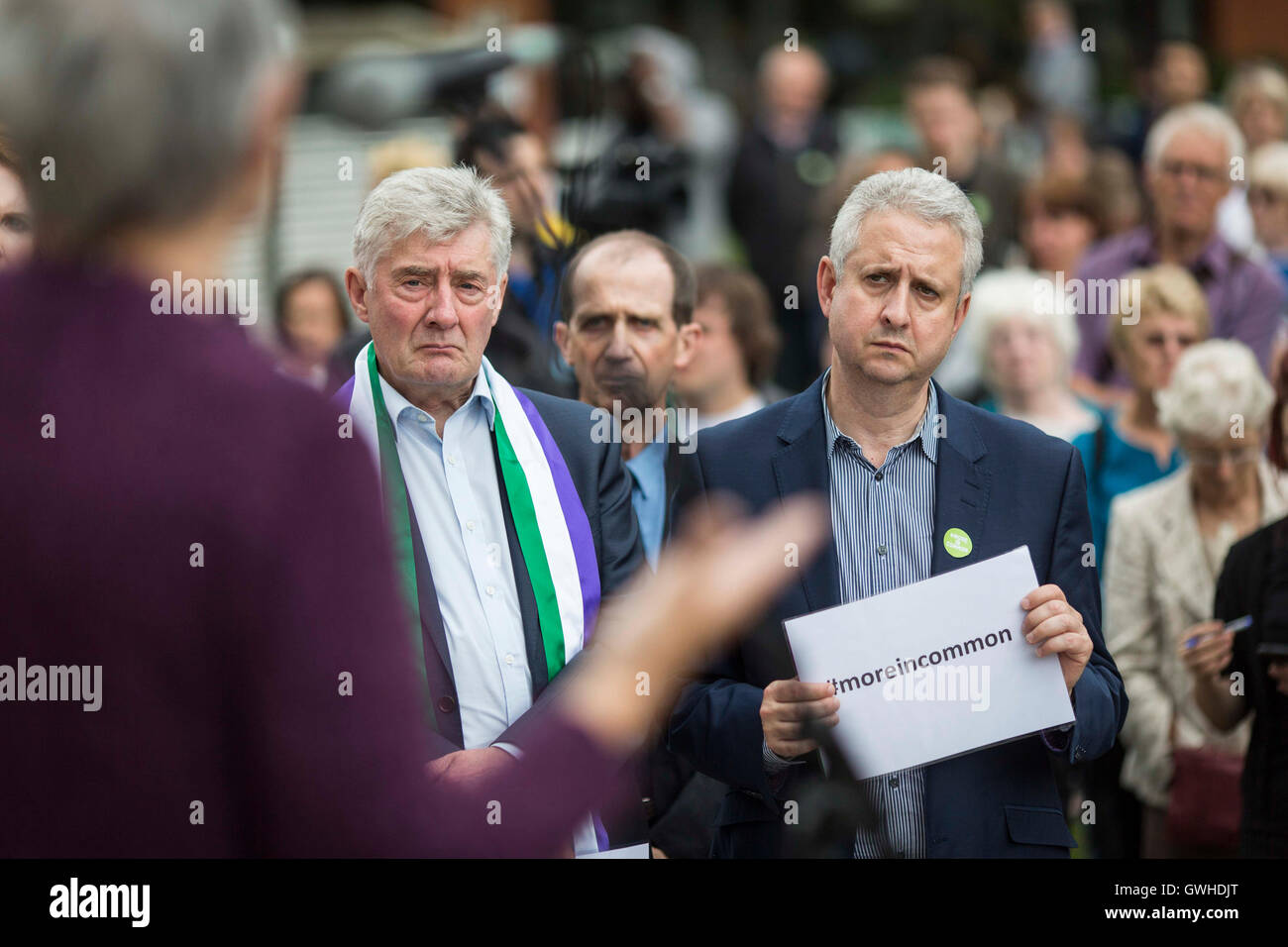 Tony Lloyd (left) , Greater Manchester Police and Crime Commissioner and interim Mayor of Greater Manchester and - Stock Image
