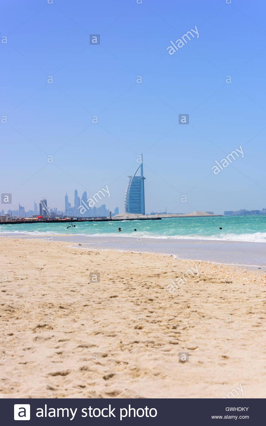 Jumeirah Kite Beach With Burj Al Arab In Background Dubai United