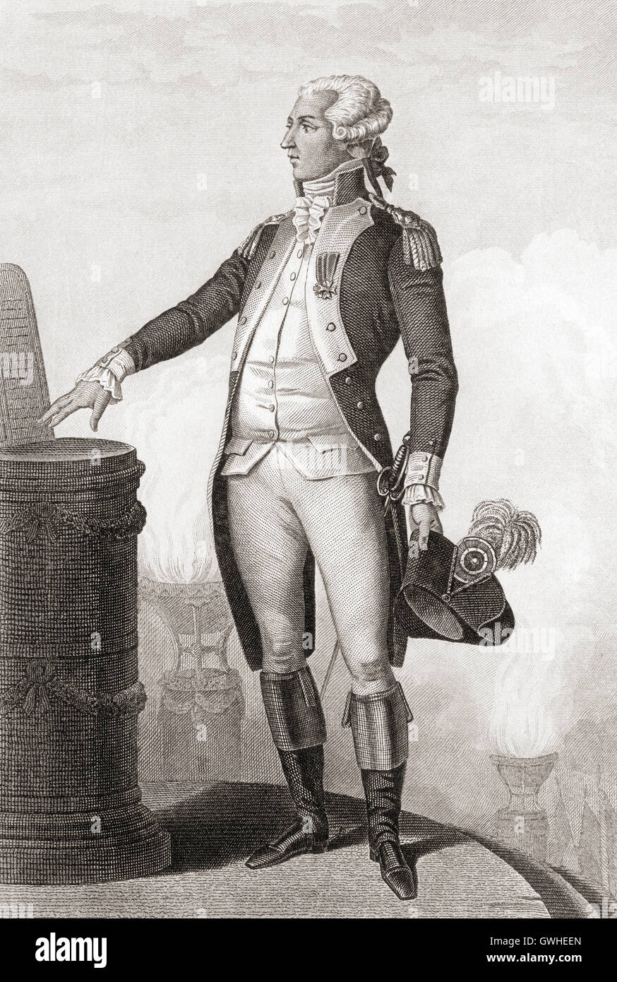 Marie-Joseph Paul Yves Roch Gilbert du Motier, Marquis de Lafayette, 1757 – 1834.  French aristocrat and military - Stock Image