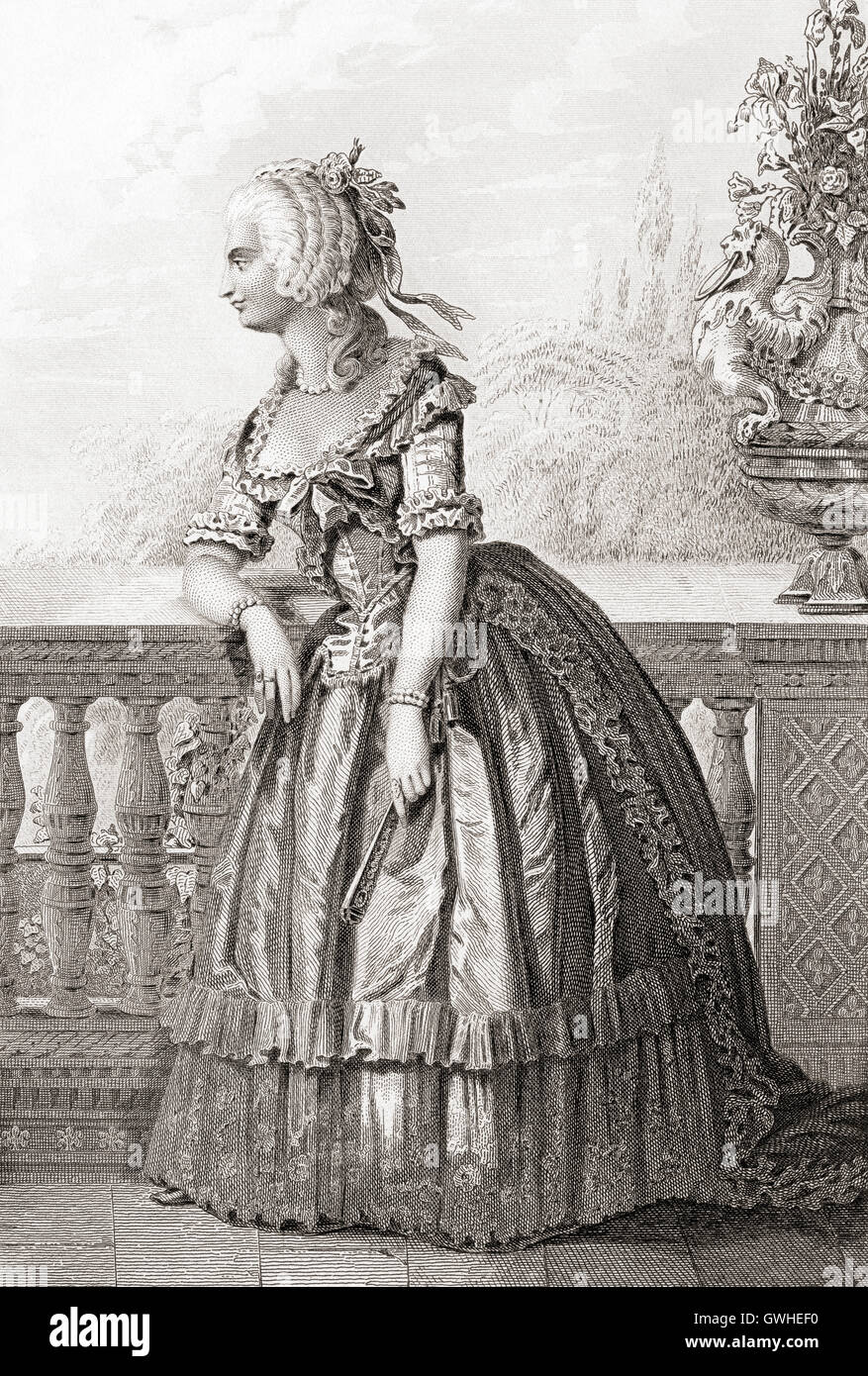 Princess Marie-Louise Thérèse of Savoy-Carignan, aka Madame de Lamballe, 1749 –  1792.  Member of a cadet - Stock Image