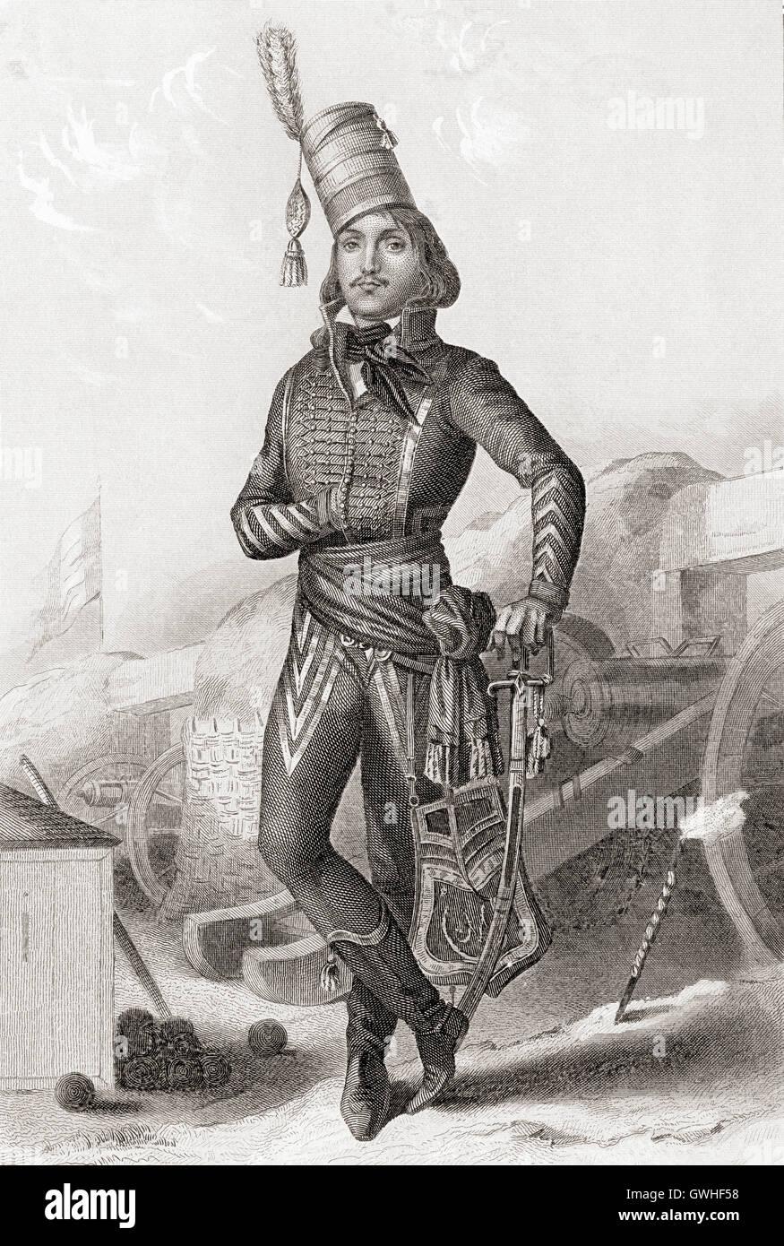 François Séverin Marceau-Desgraviers, 1769 –  1796.  French general of the Revolutionary Wars. - Stock Image