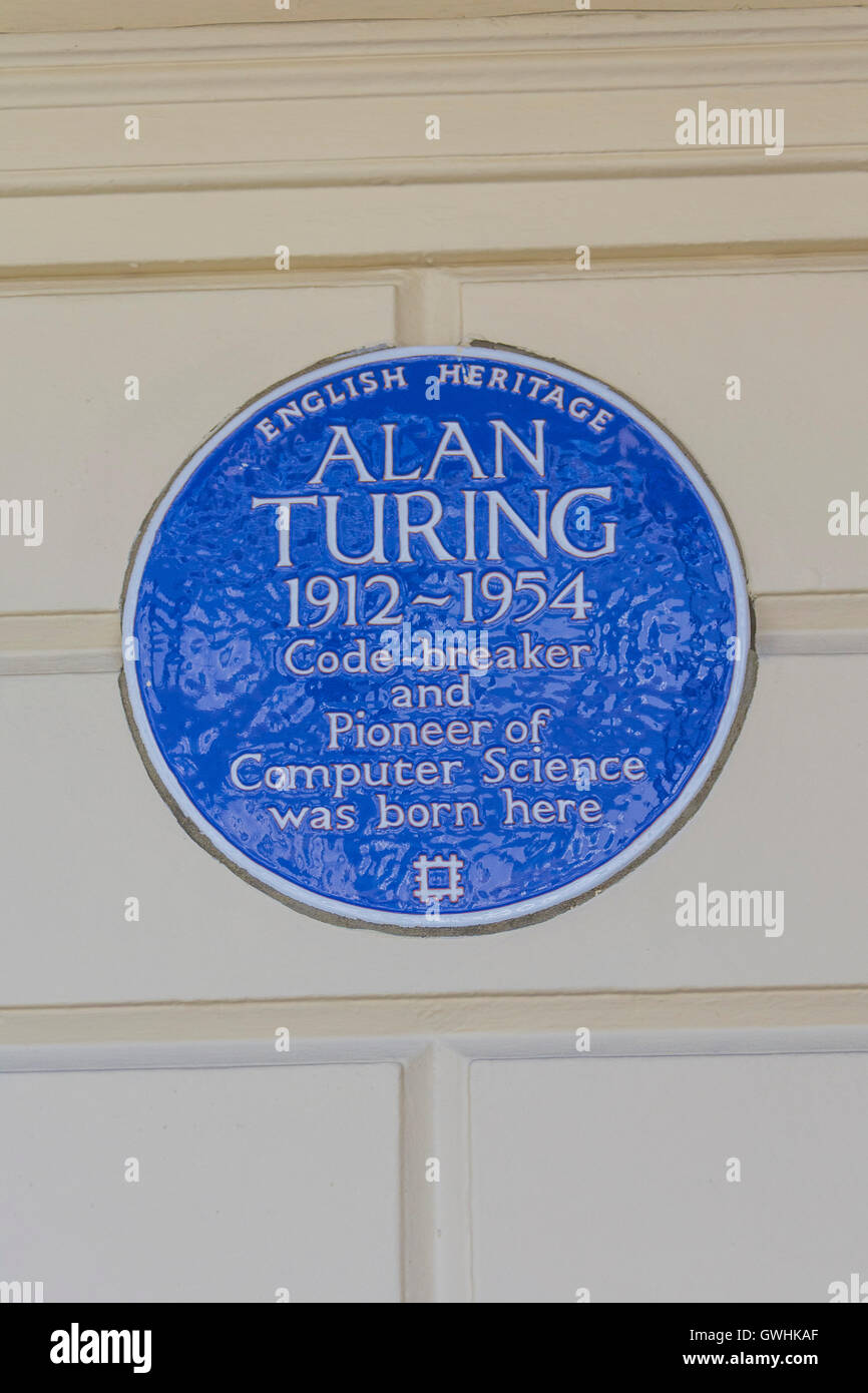 """English Heritage Blue Plaque commemorating """"Alan Turing 1912-1954 Code breaker and Pioneer of Computer Science was Stock Photo"""