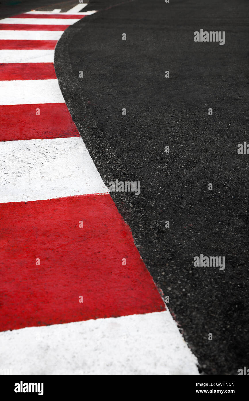 Motor race asphalt and curb on Monaco Montecarlo Grand Prix street circuit - Stock Image