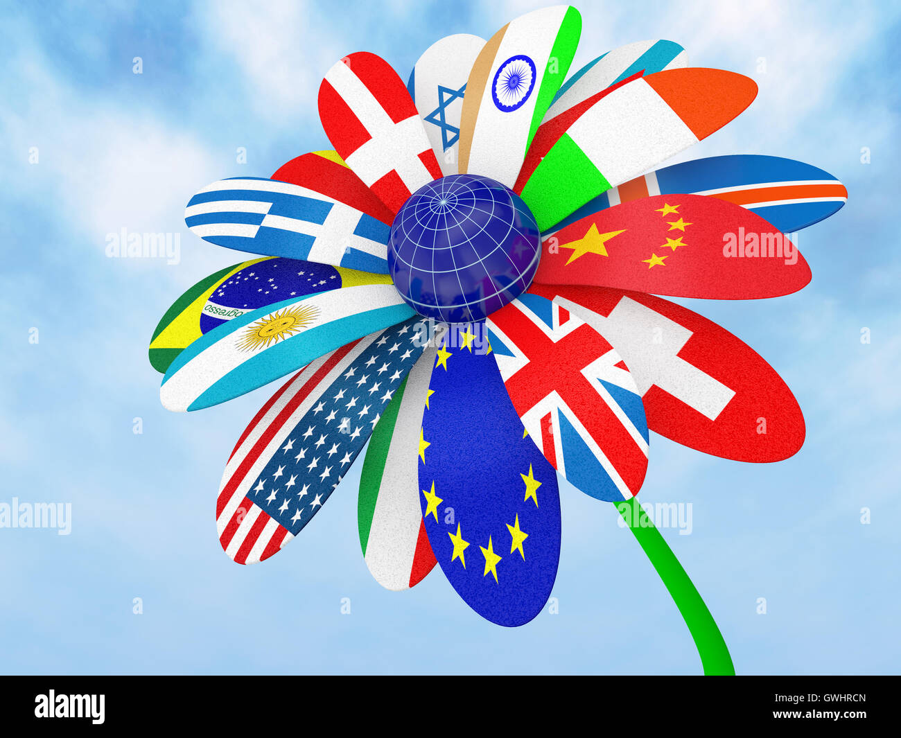 Camomile with flags - Stock Image
